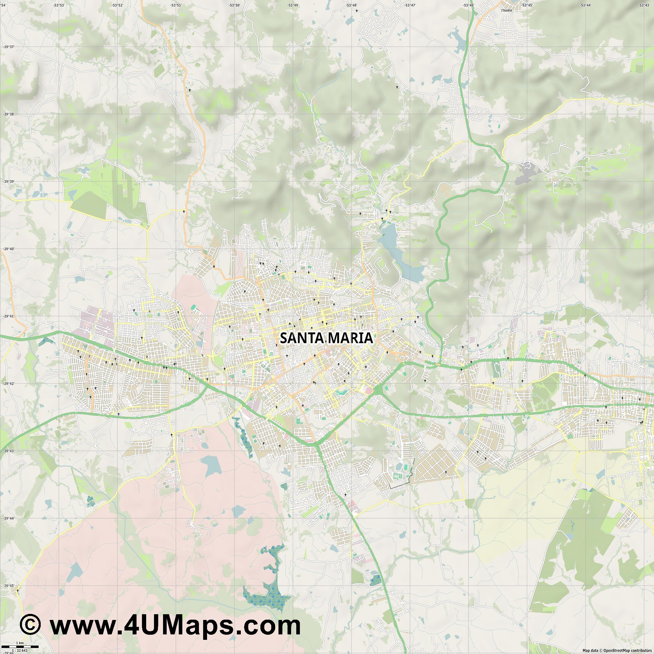 Santa Maria  jpg high detail, large area preview vector city map