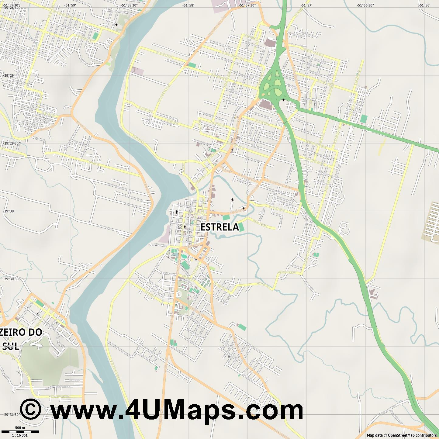 Estrela  jpg ultra high detail preview vector city map