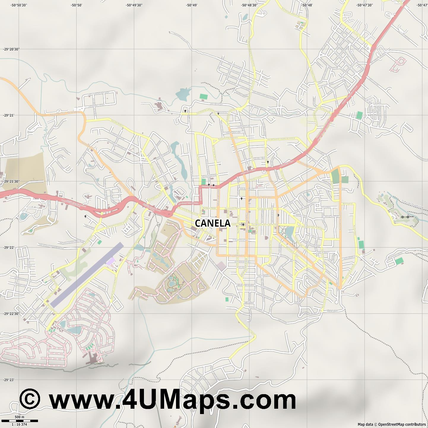 Canela  jpg ultra high detail preview vector city map