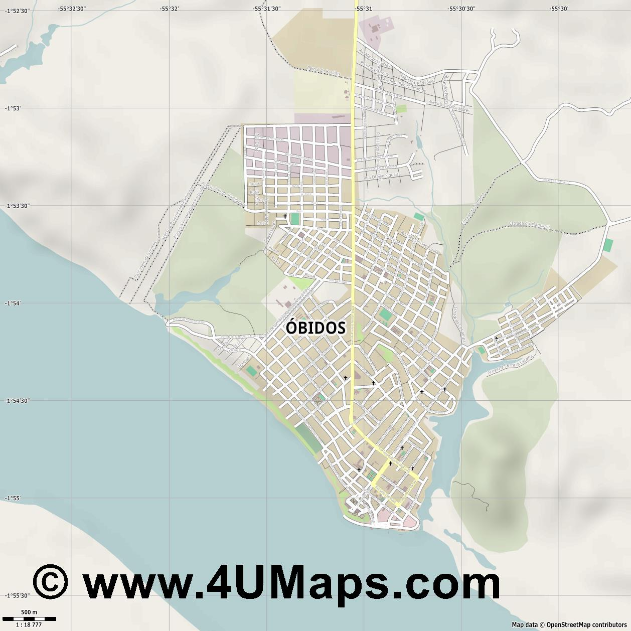 Óbidos  jpg ultra high detail preview vector city map