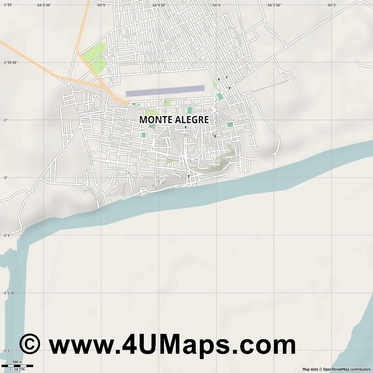 Monte Alegre  jpg ultra high detail preview vector city map