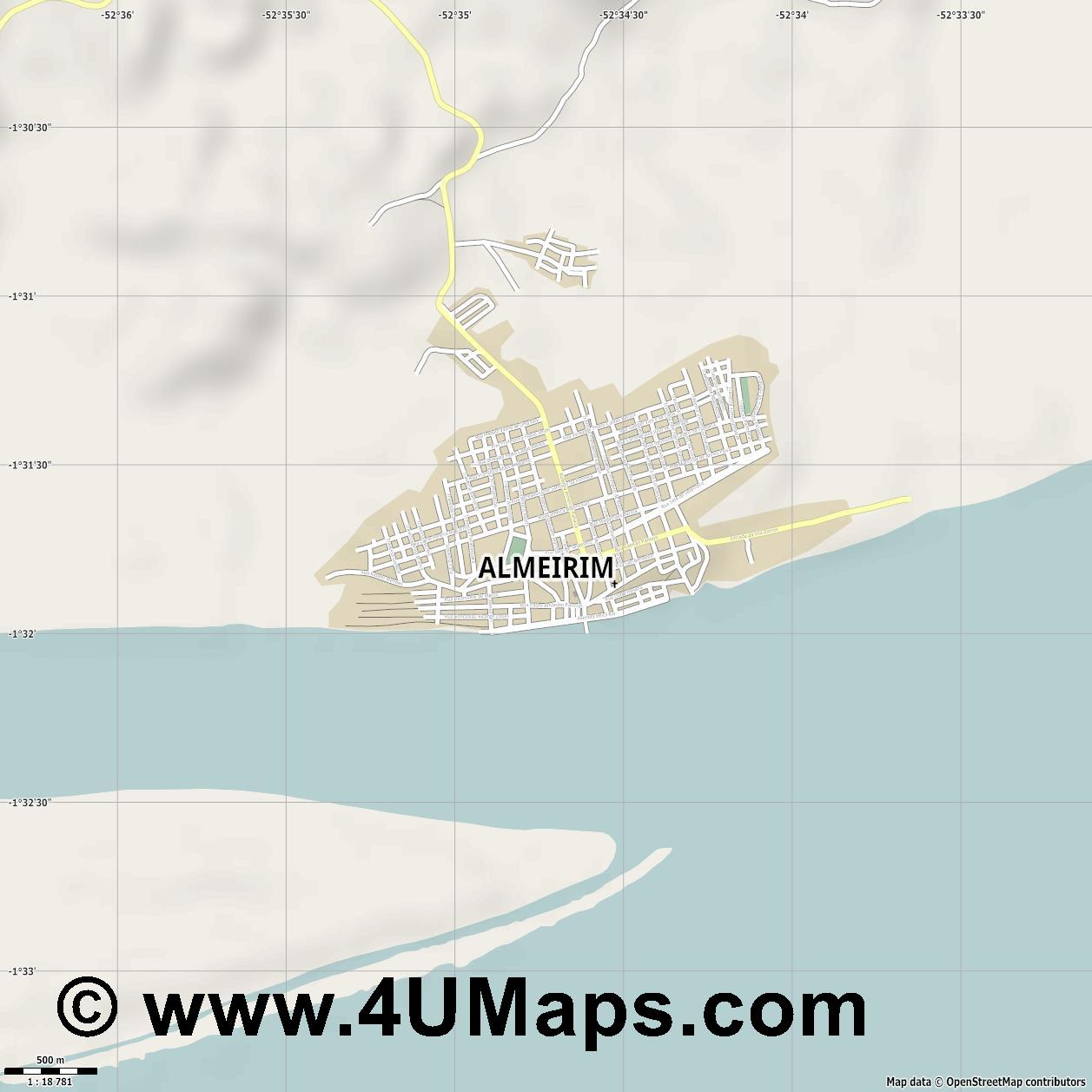 Almeirim  jpg ultra high detail preview vector city map