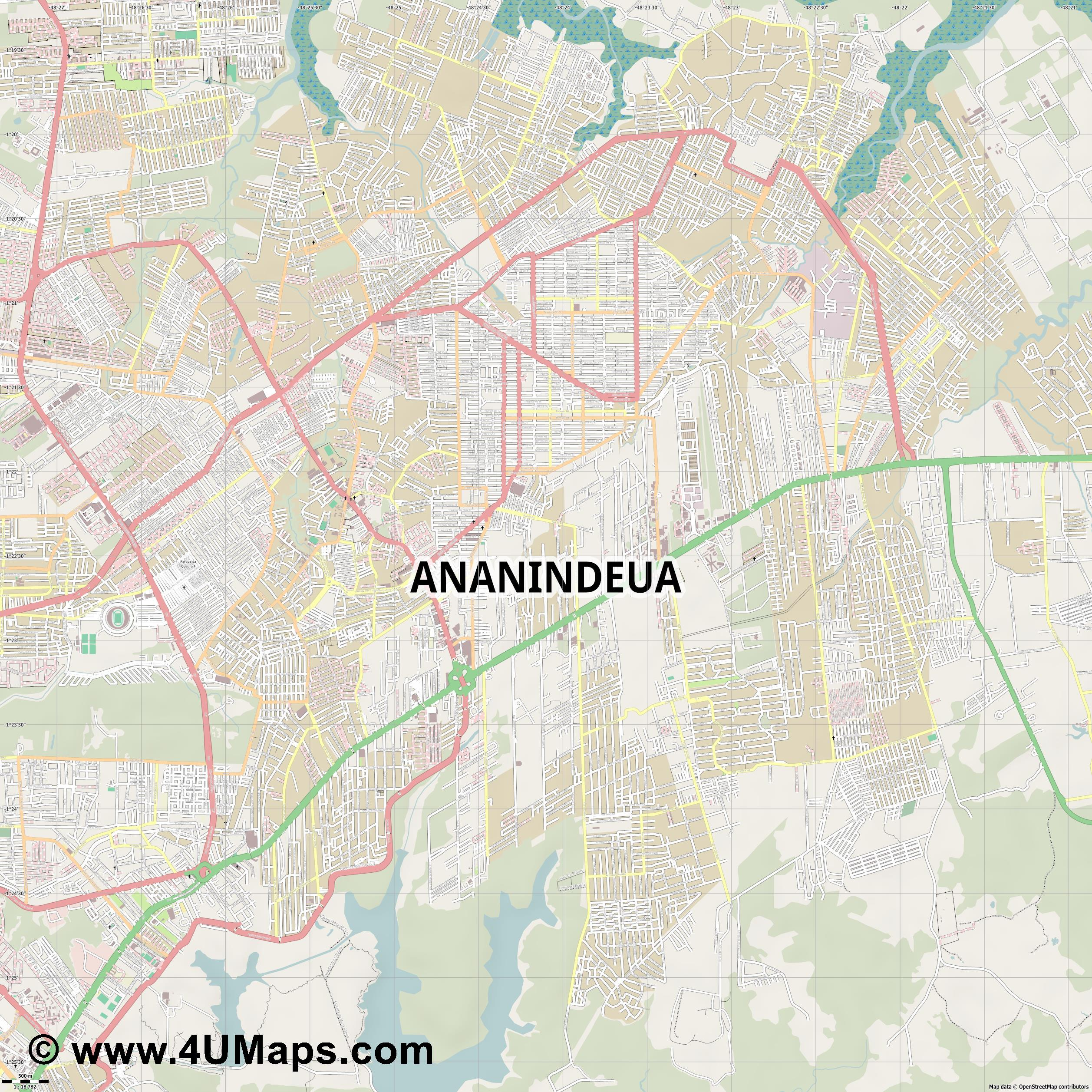 Ananindeua  jpg ultra high detail preview vector city map