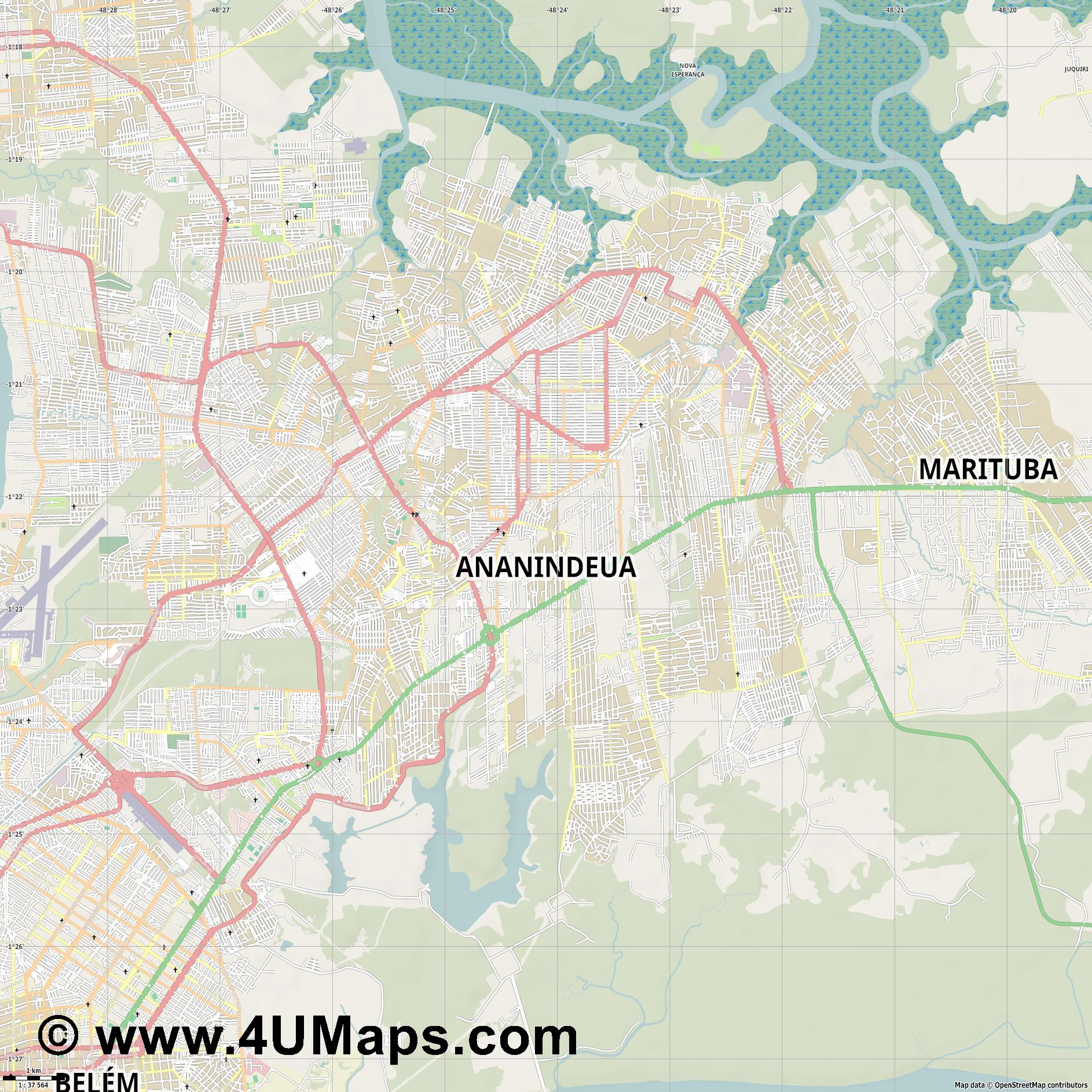 Ananindeua  jpg high detail, large area preview vector city map