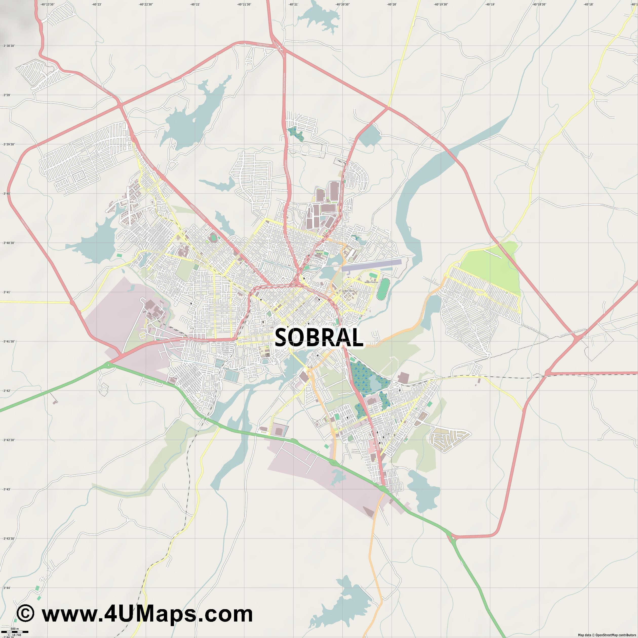 Sobral  jpg ultra high detail preview vector city map