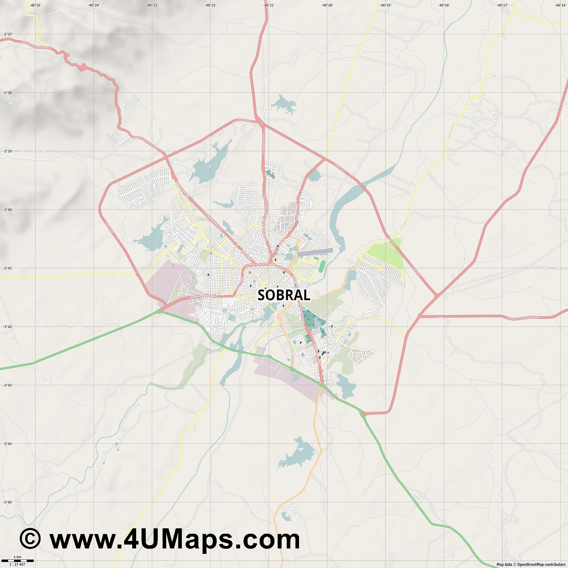 Sobral  jpg high detail, large area preview vector city map