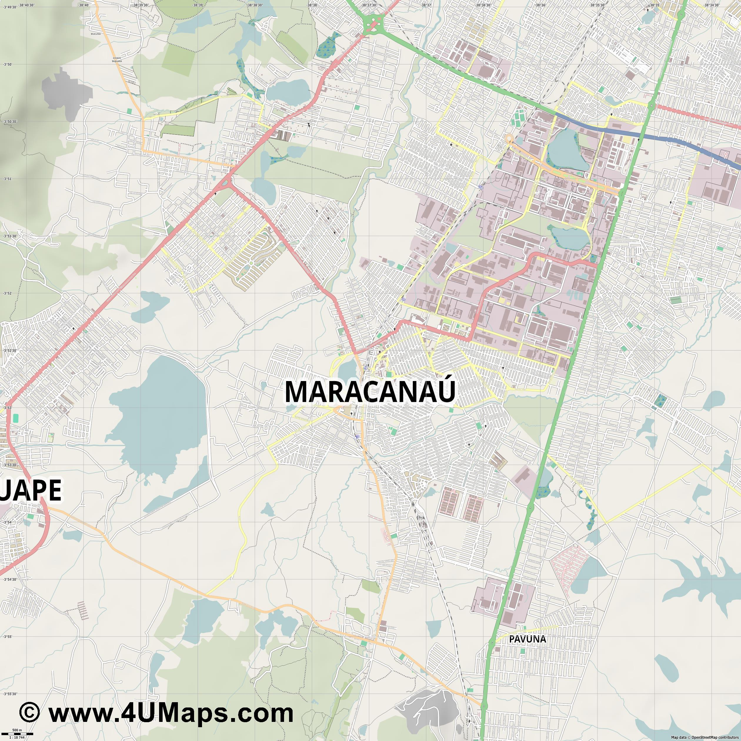 Maracanaú  jpg ultra high detail preview vector city map