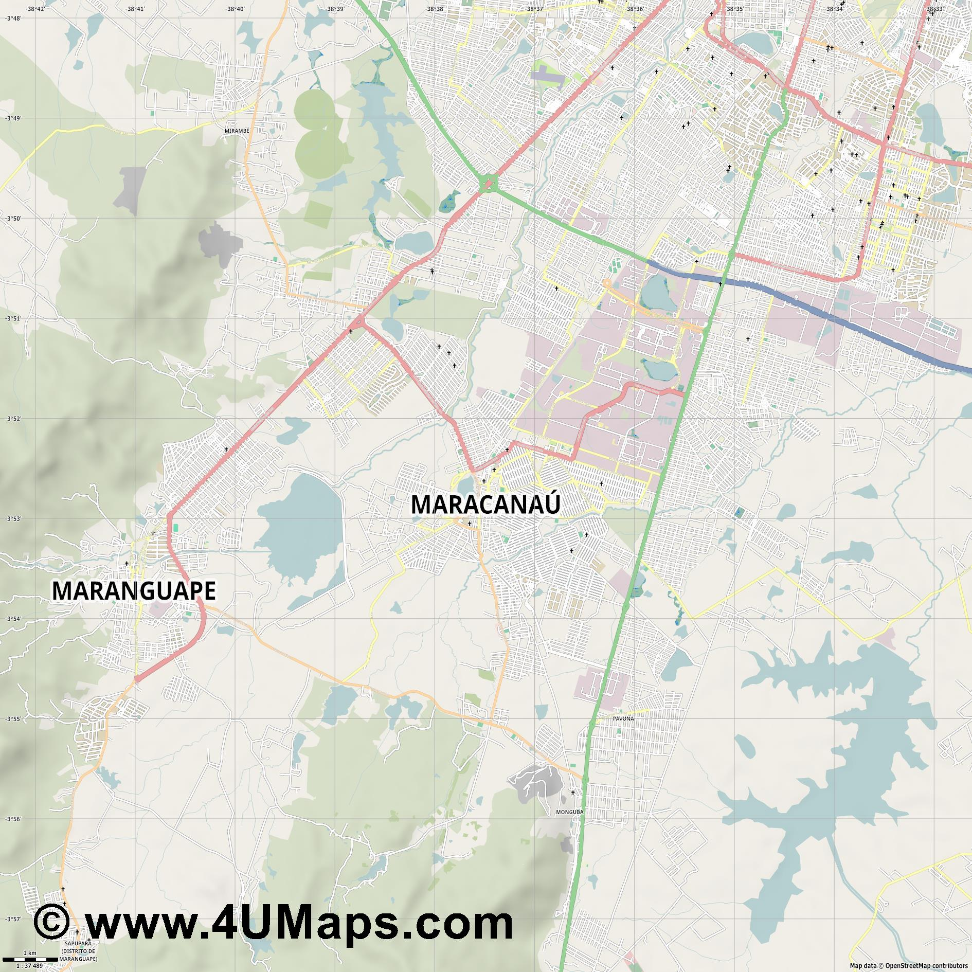 Maracanaú  jpg high detail, large area preview vector city map