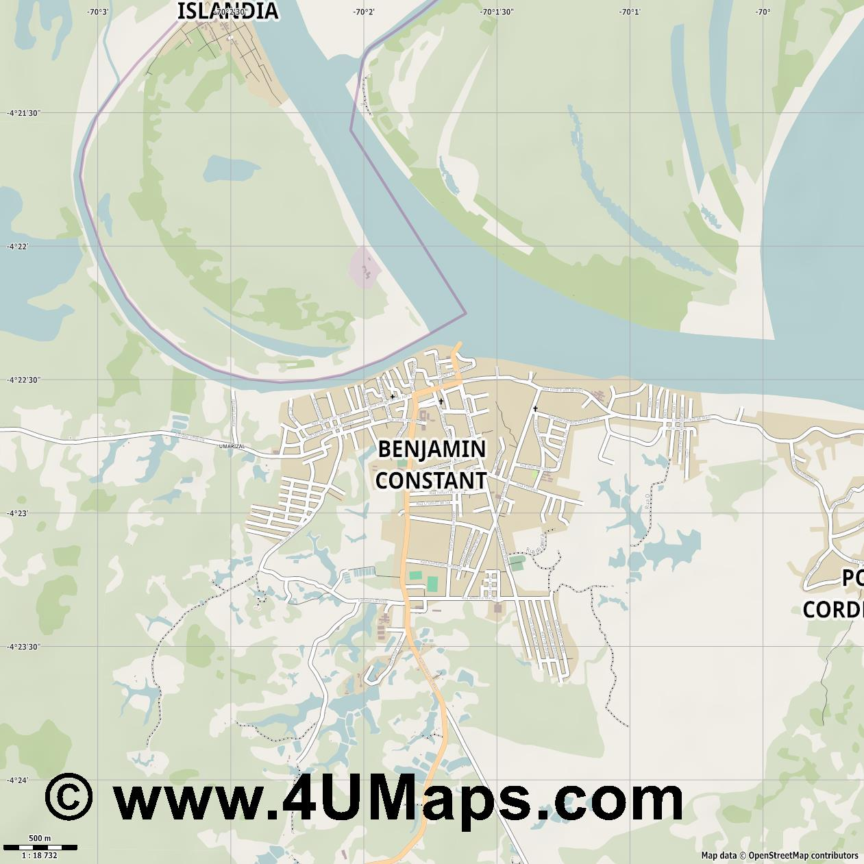 Benjamin Constant  jpg ultra high detail preview vector city map