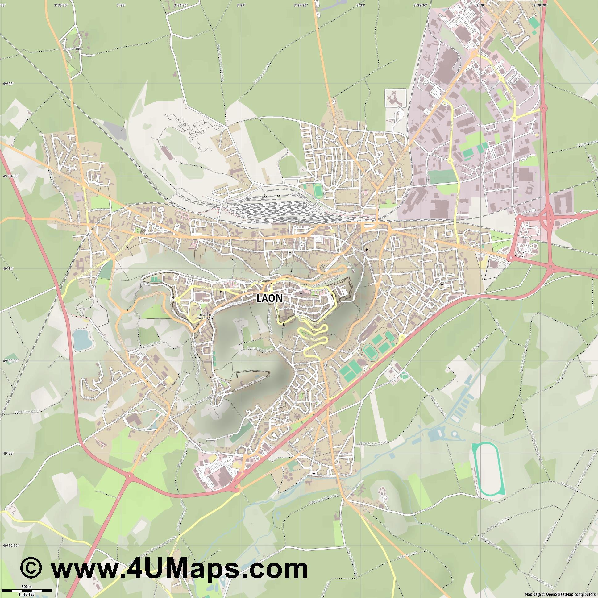 Laon  jpg ultra high detail preview vector city map