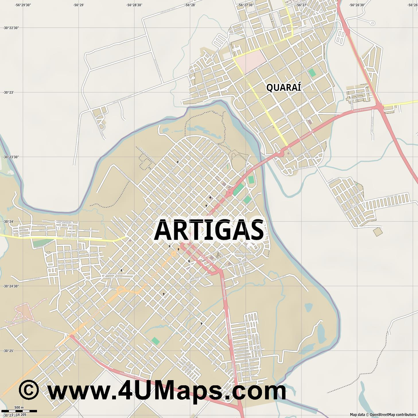 Artigas  jpg ultra high detail preview vector city map