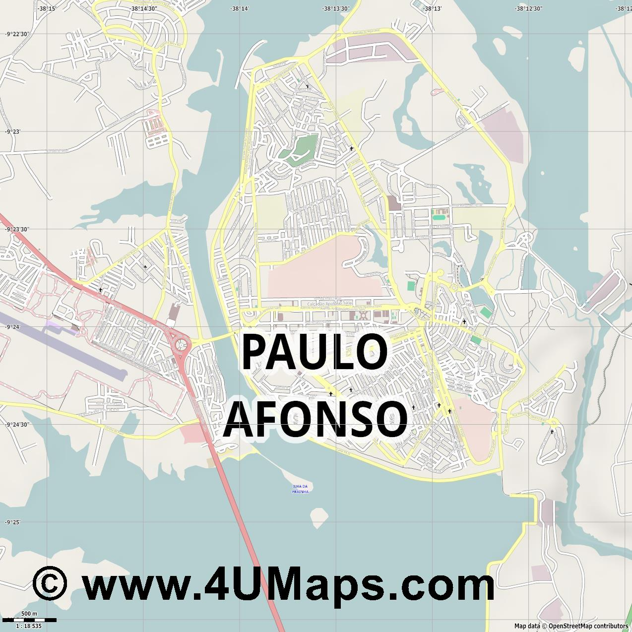 Paulo Afonso  jpg ultra high detail preview vector city map