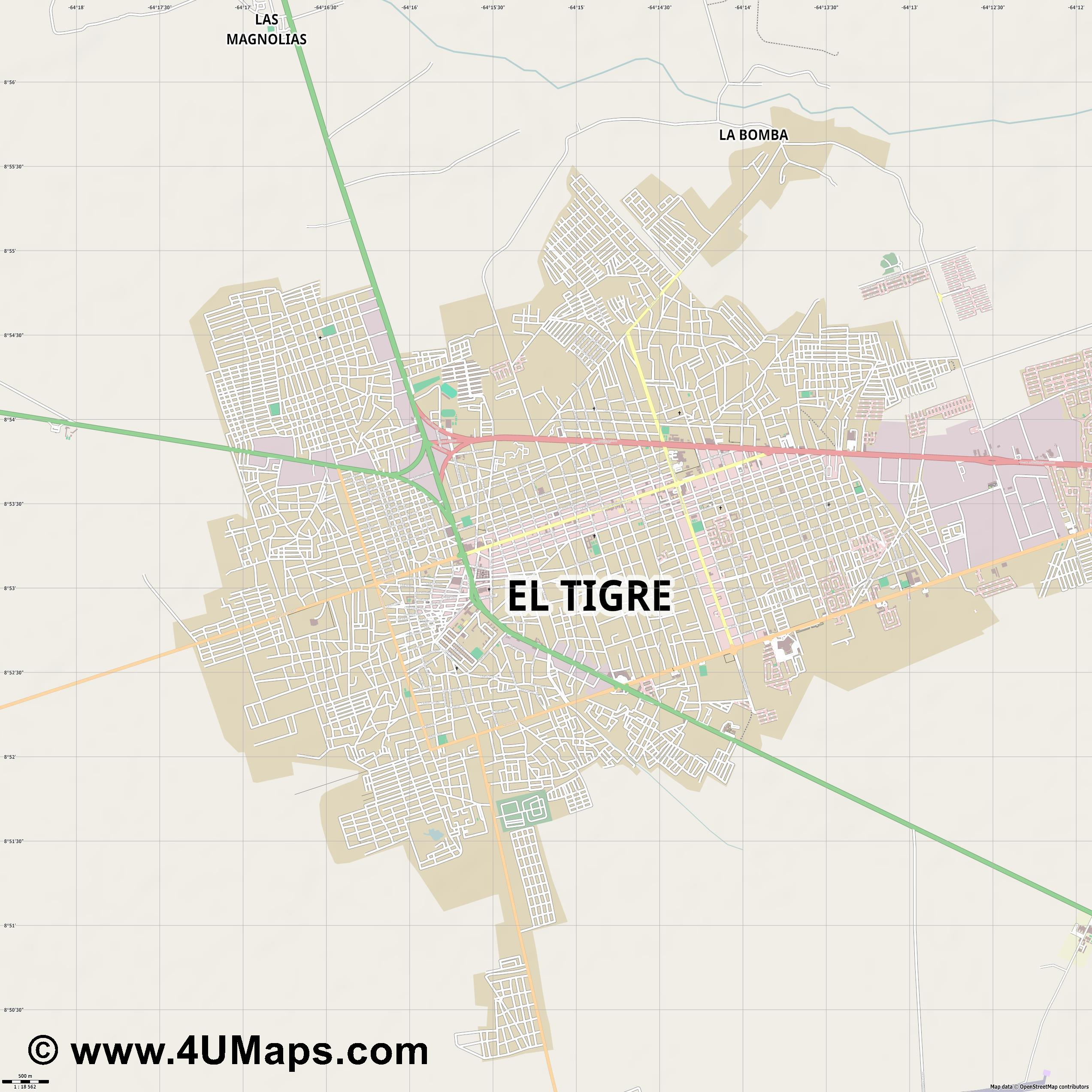 El Tigre  jpg ultra high detail preview vector city map