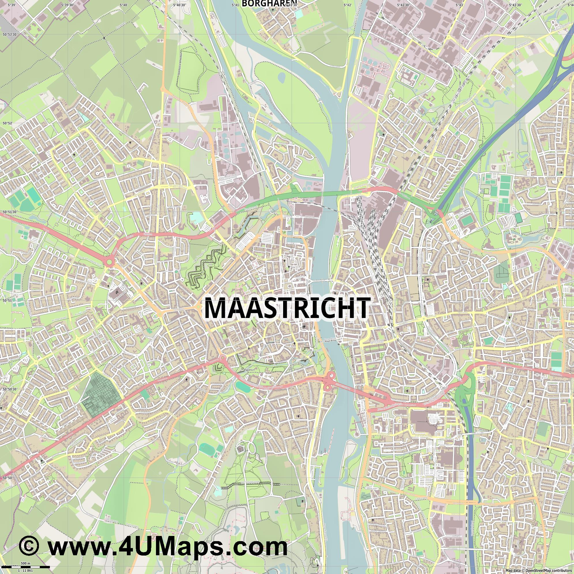 Maastricht  jpg ultra high detail preview vector city map