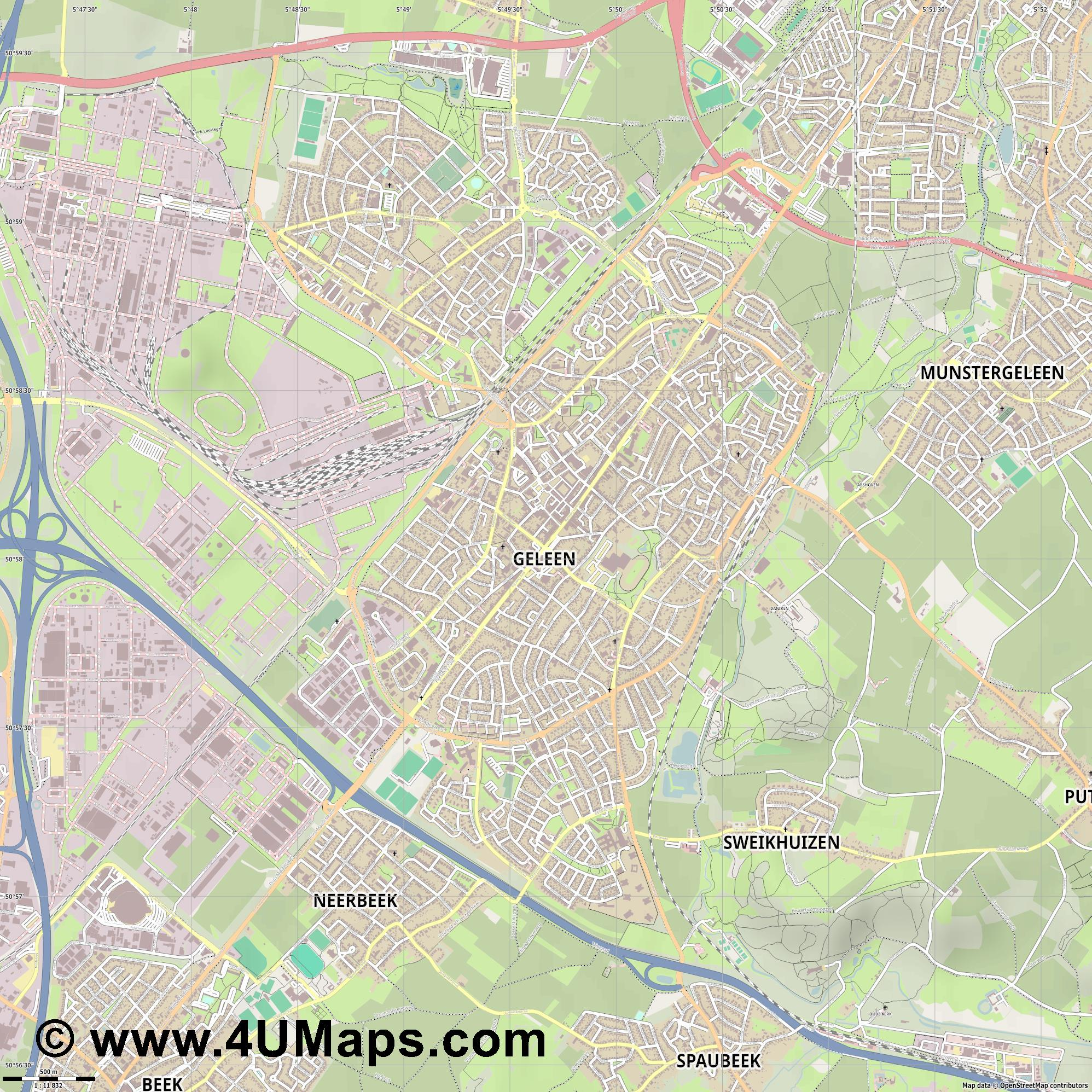 Geleen  jpg ultra high detail preview vector city map