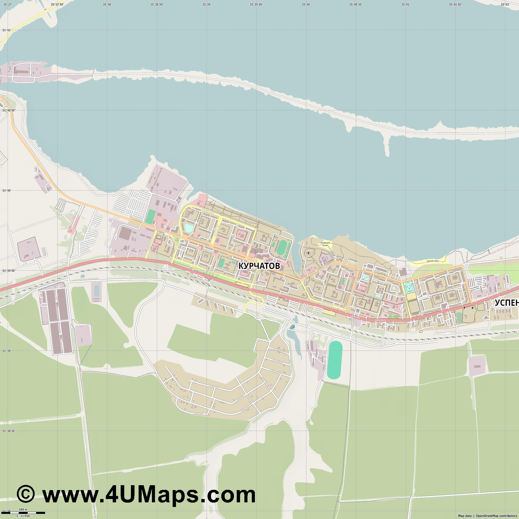 Курчатов Kurtschatow  jpg ultra high detail preview vector city map