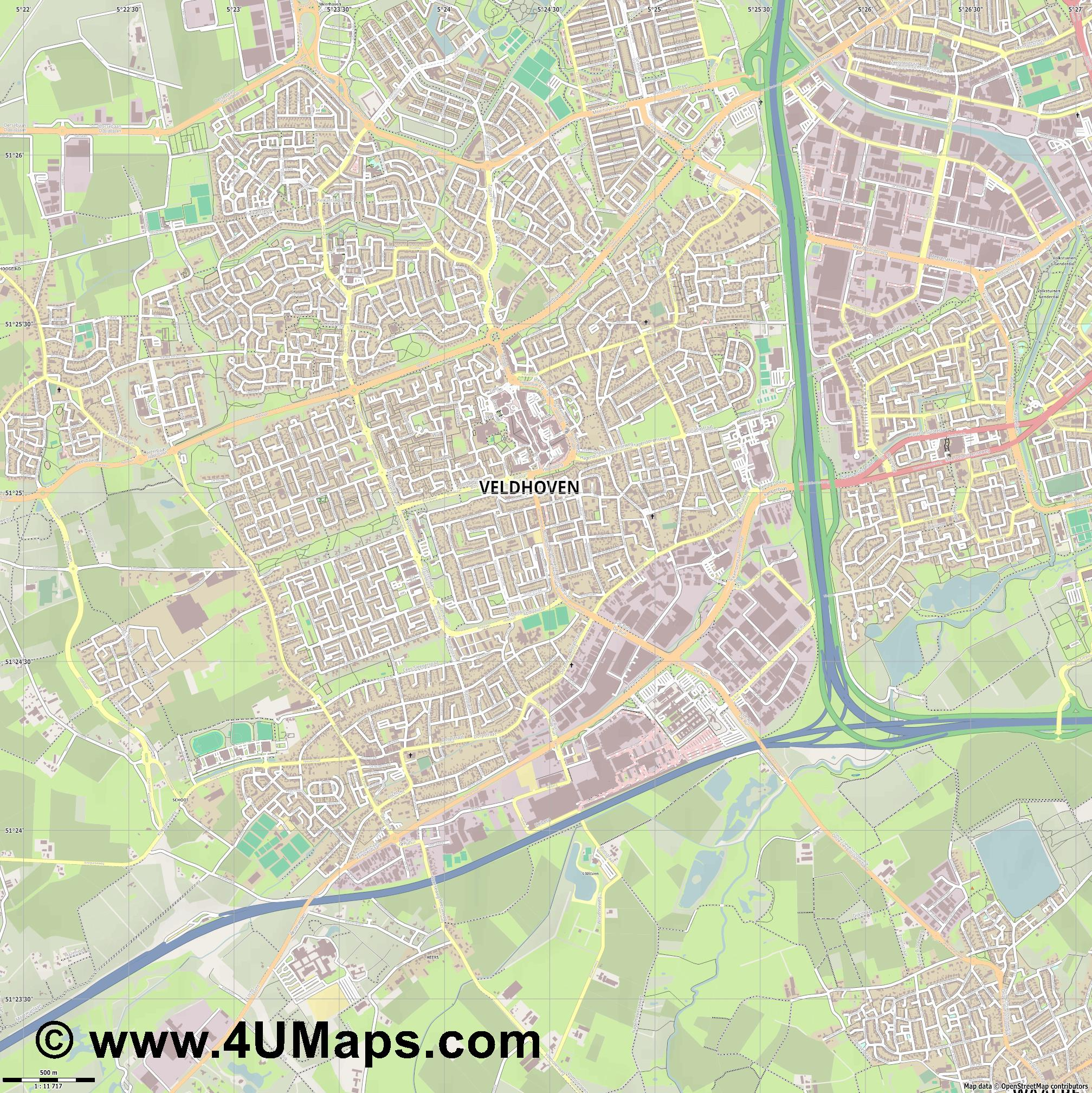 Veldhoven  jpg ultra high detail preview vector city map