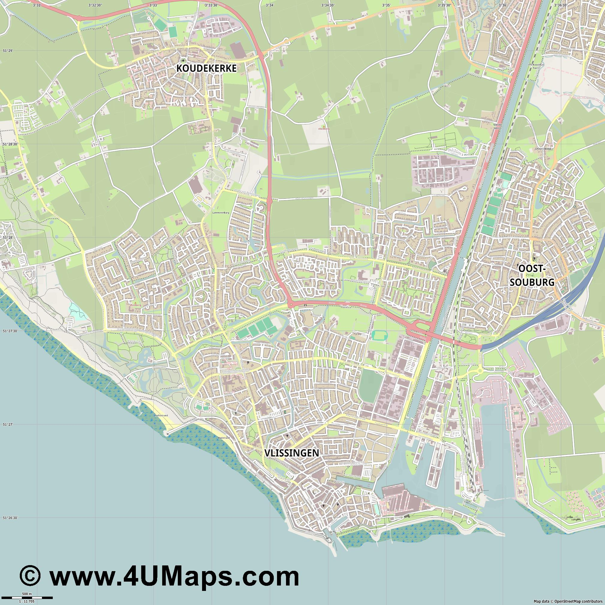 Vlissingen  jpg ultra high detail preview vector city map