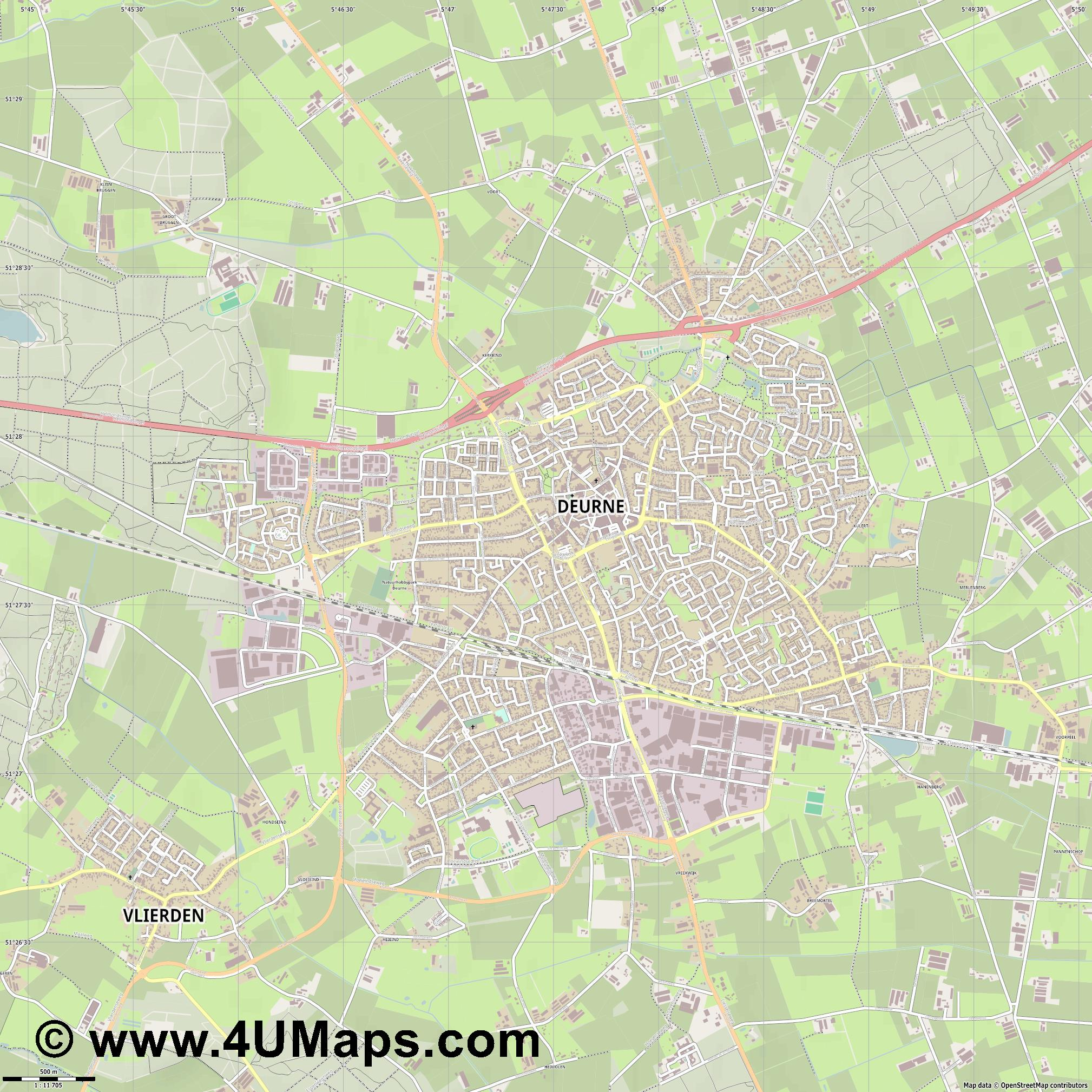 Deurne  jpg ultra high detail preview vector city map