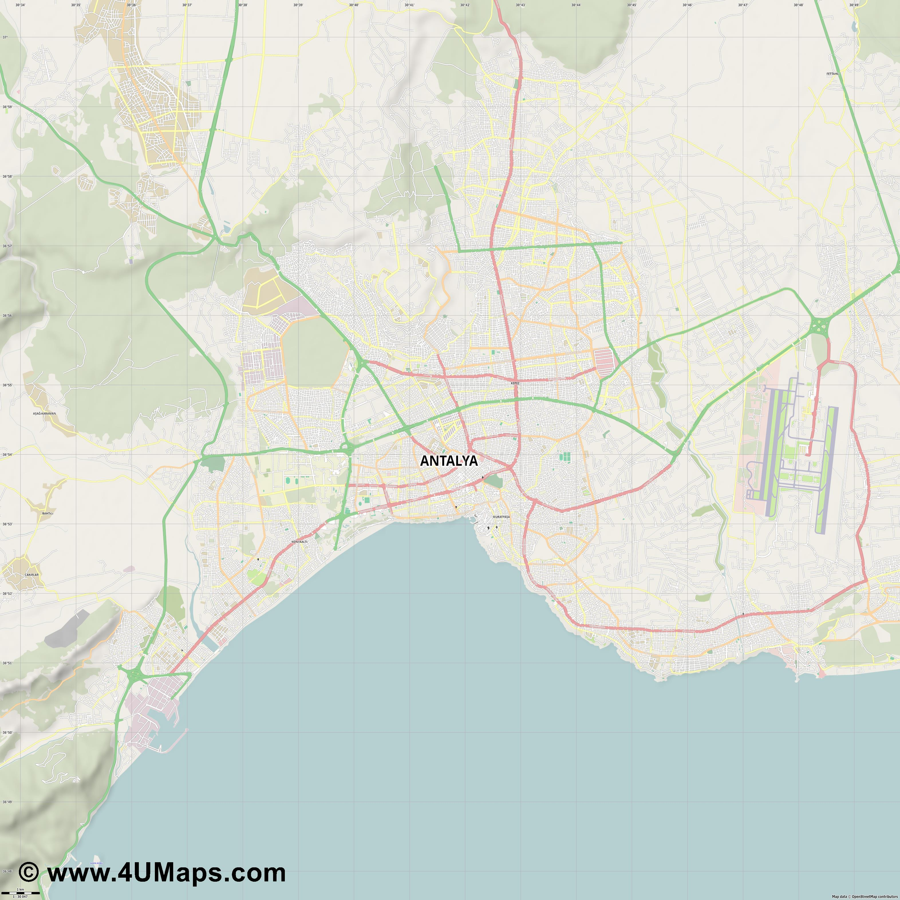 Antalya  jpg high detail, large area preview vector city map