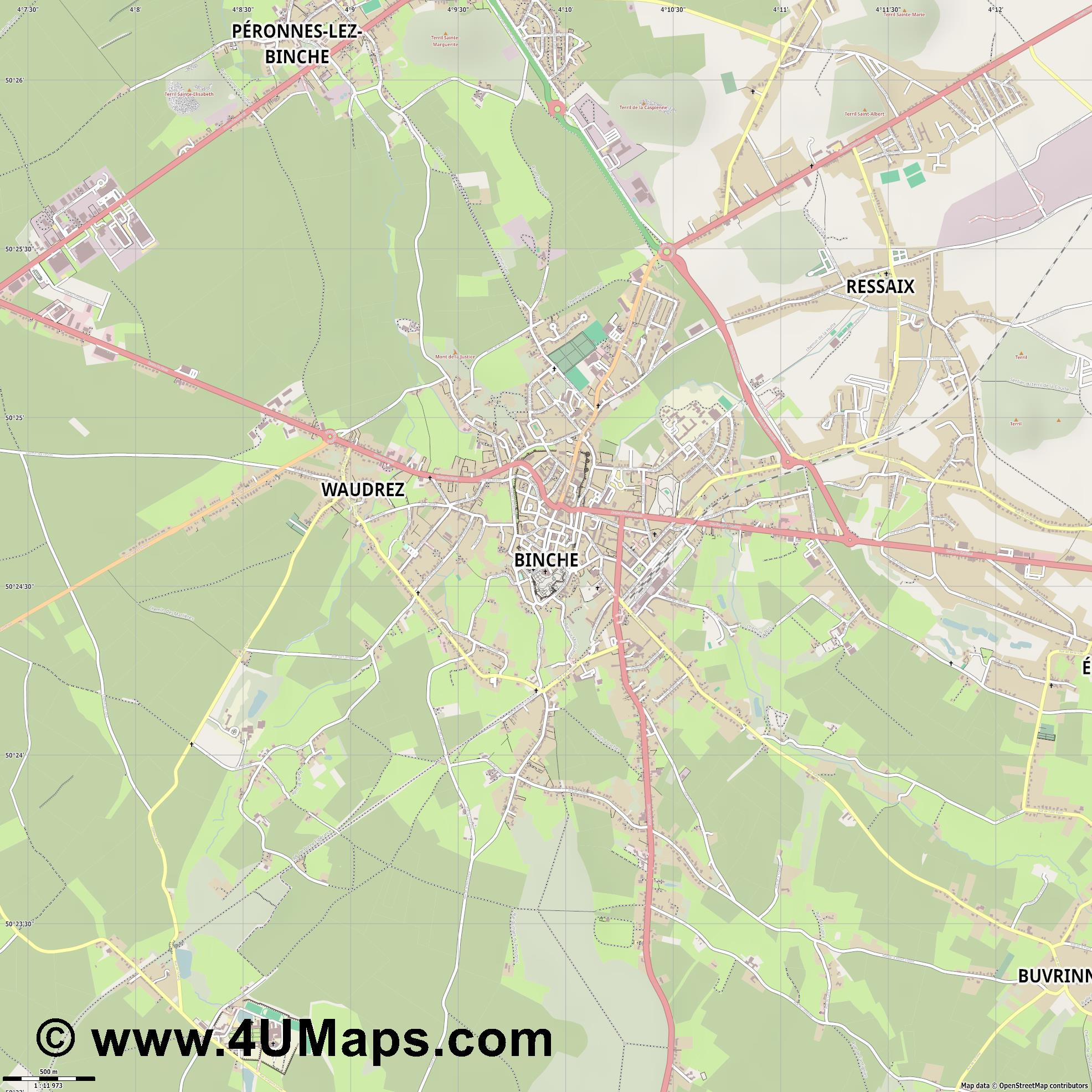 Binche  jpg ultra high detail preview vector city map