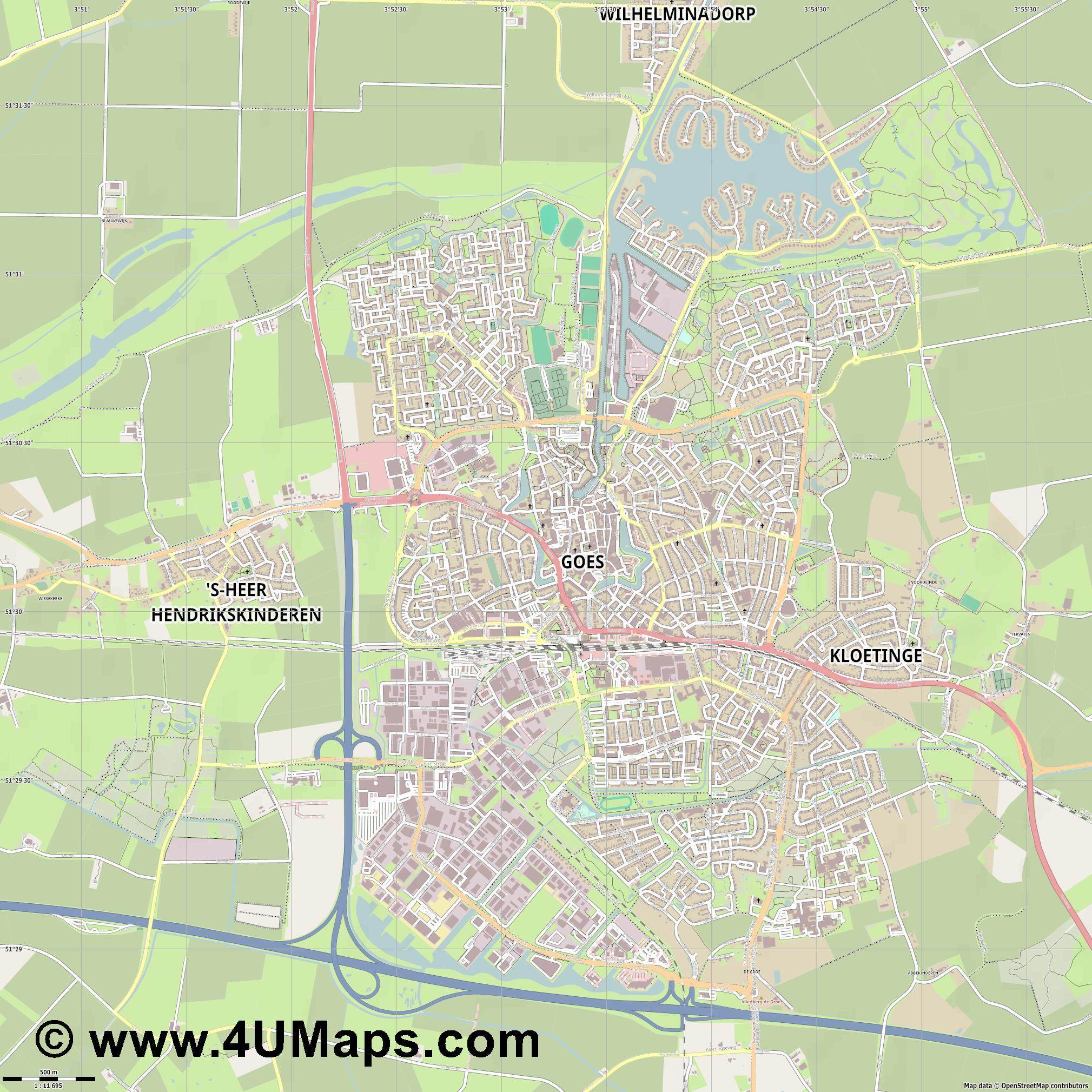 Goes  jpg ultra high detail preview vector city map