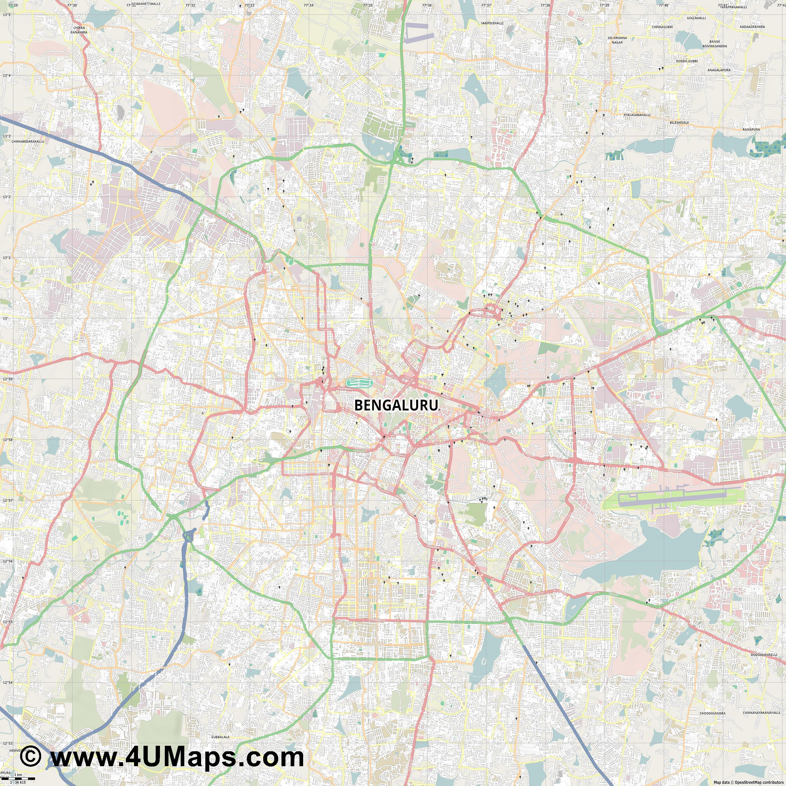 Bangalore  jpg high detail, large area preview vector city map