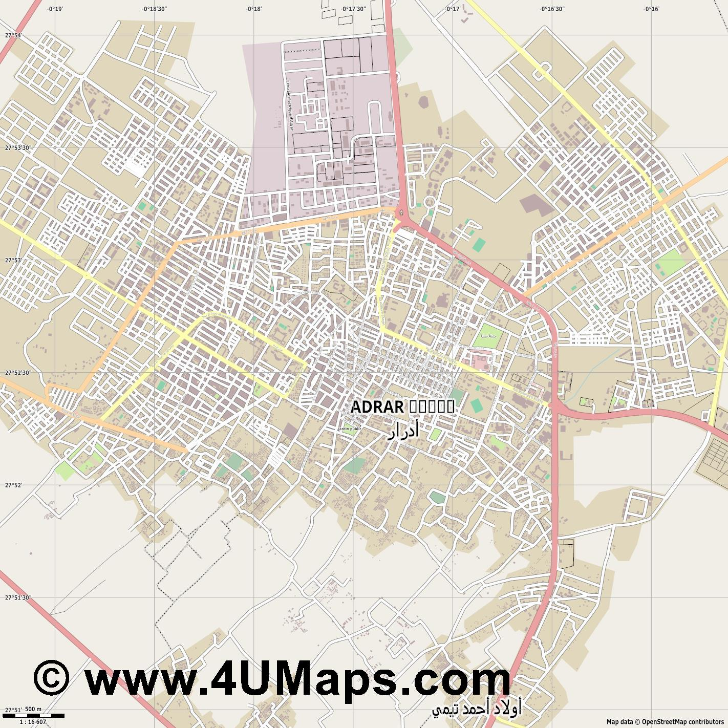 Adrar  jpg ultra high detail preview vector city map