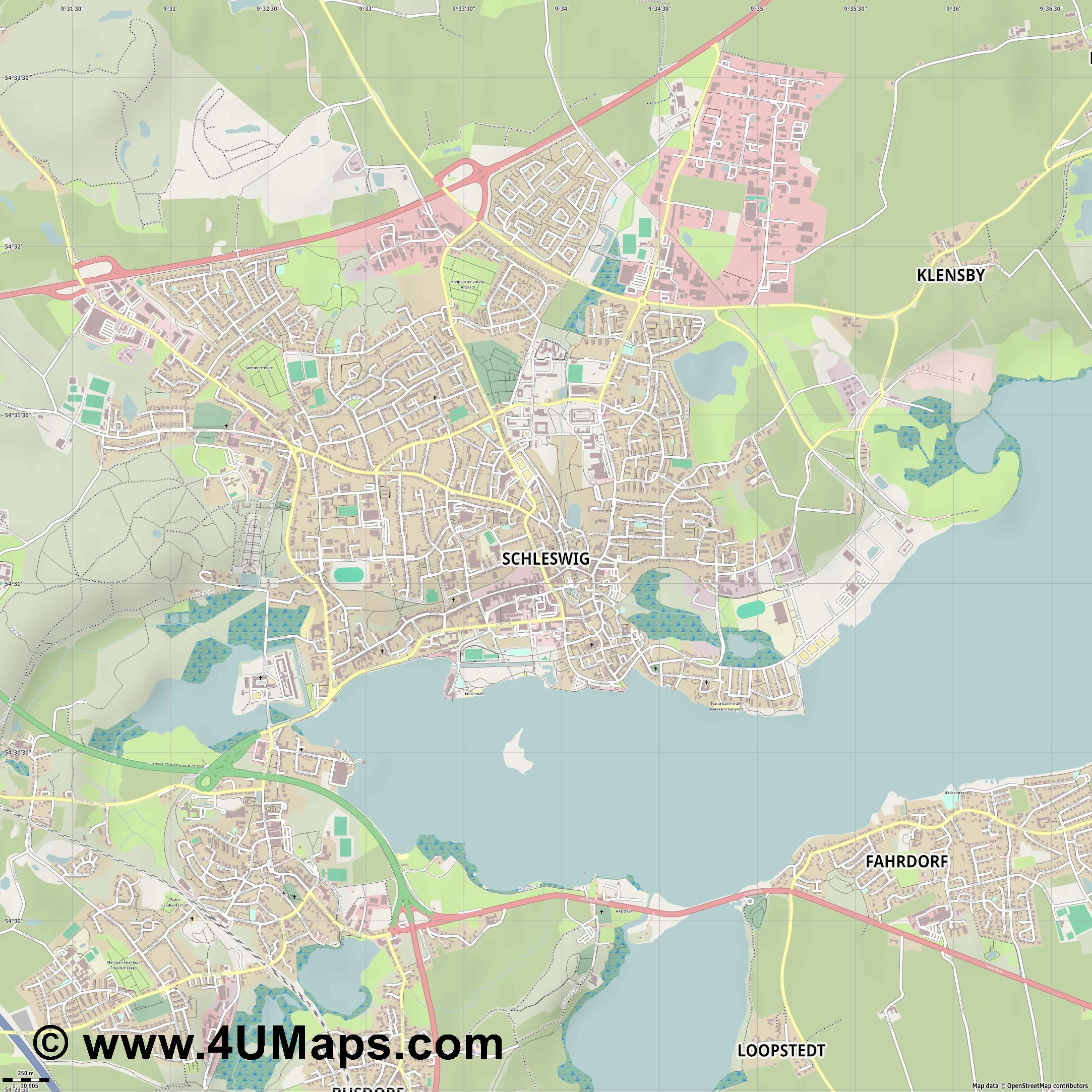 Schleswig  jpg ultra high detail preview vector city map