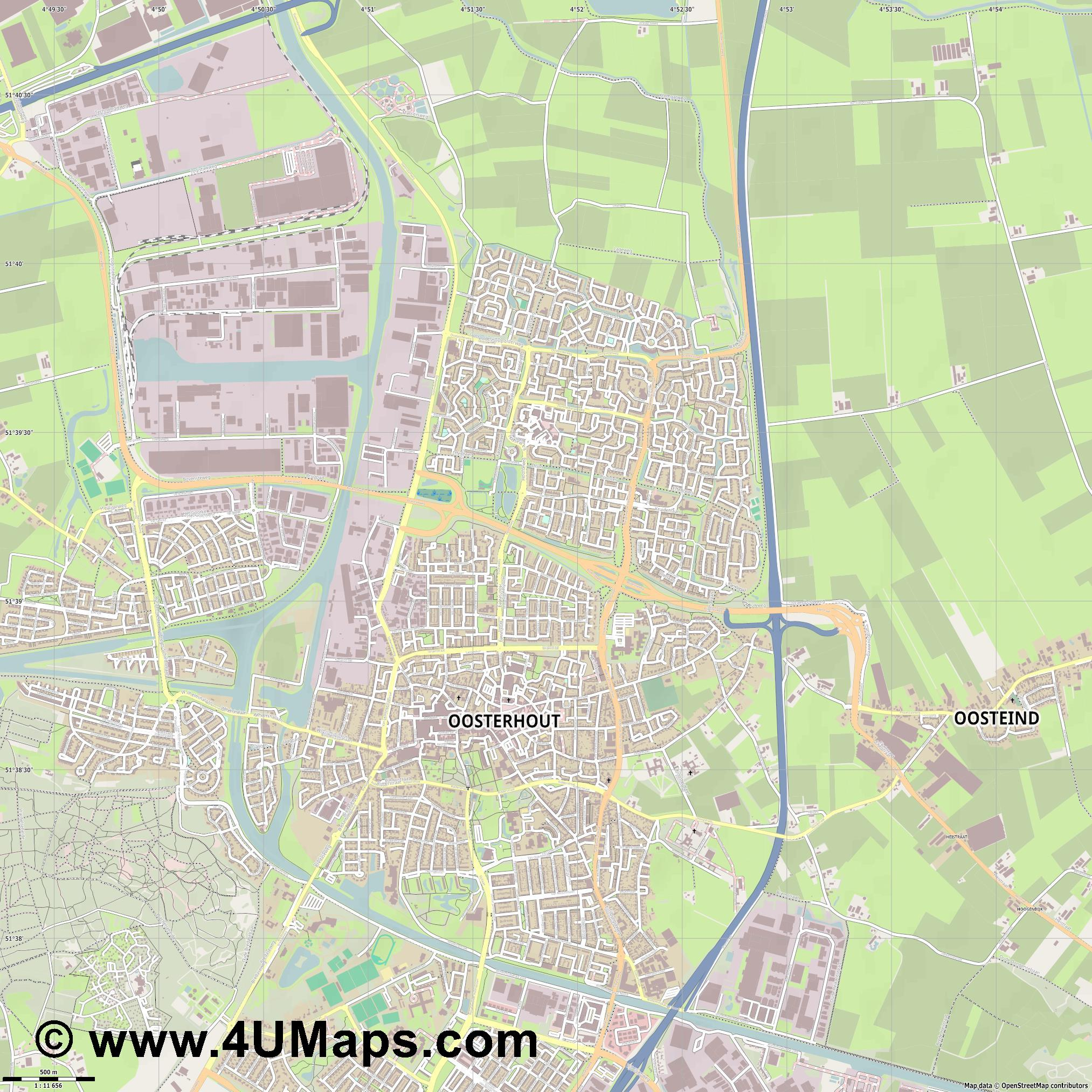 Oosterhout  jpg ultra high detail preview vector city map