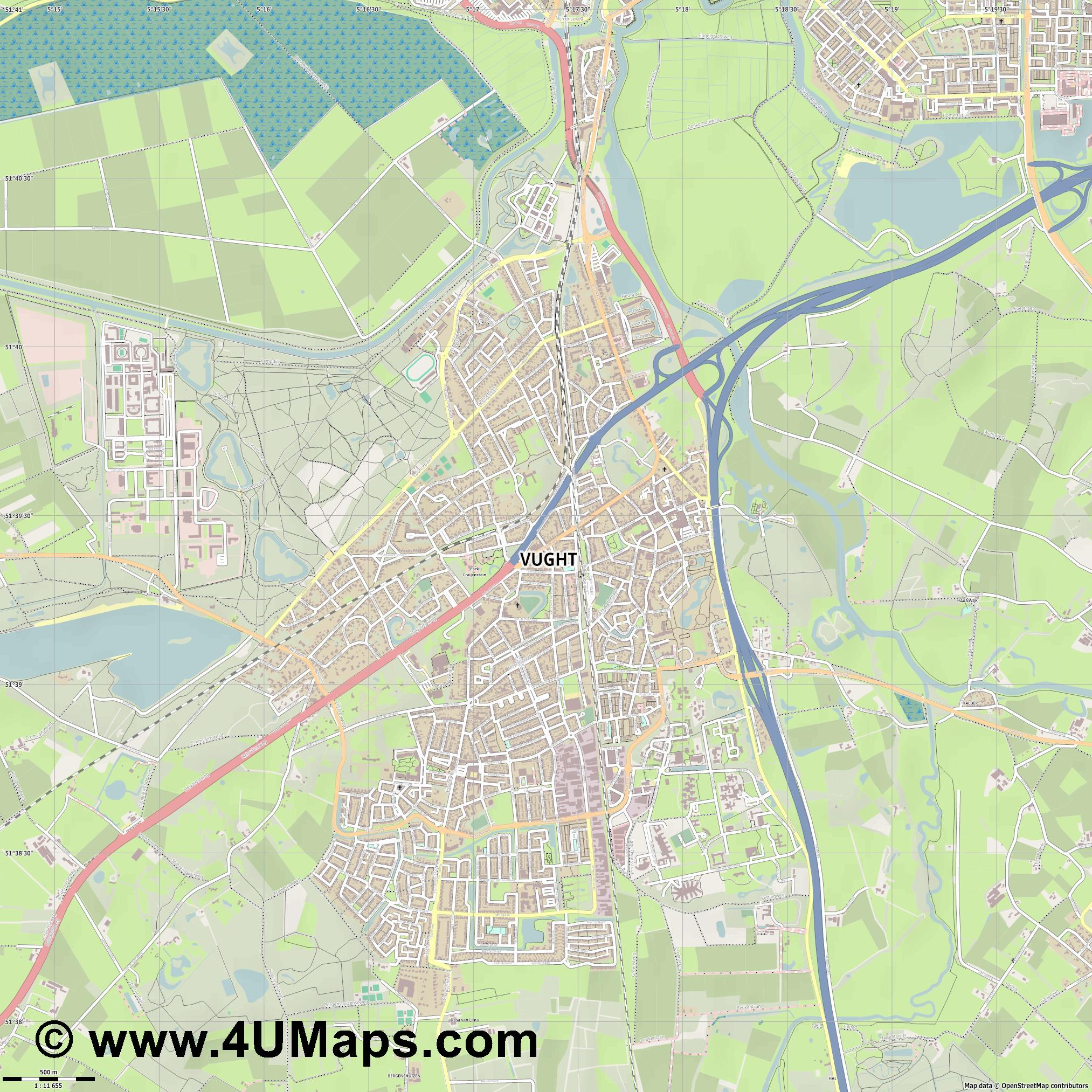 Vught  jpg ultra high detail preview vector city map