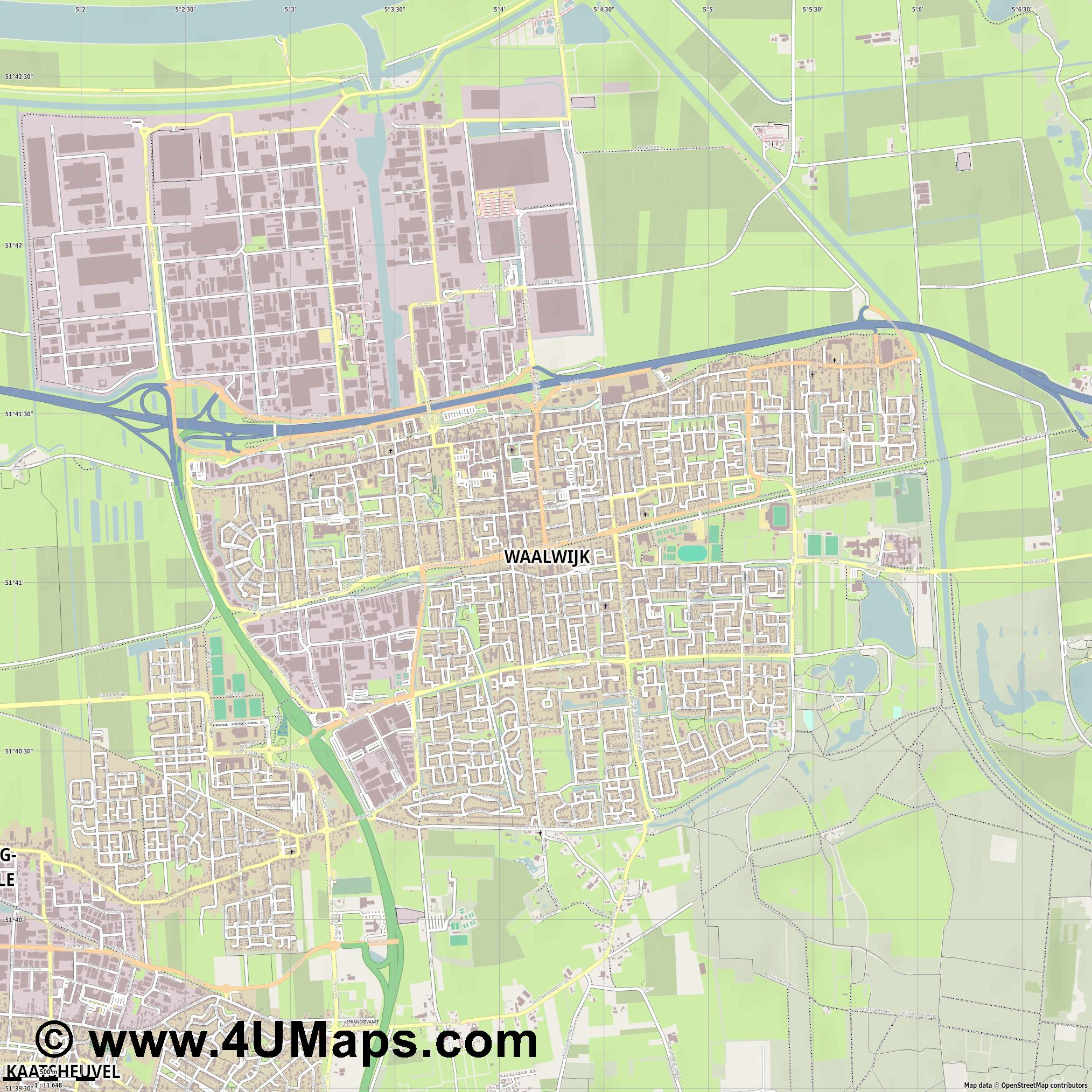 Waalwijk  jpg ultra high detail preview vector city map