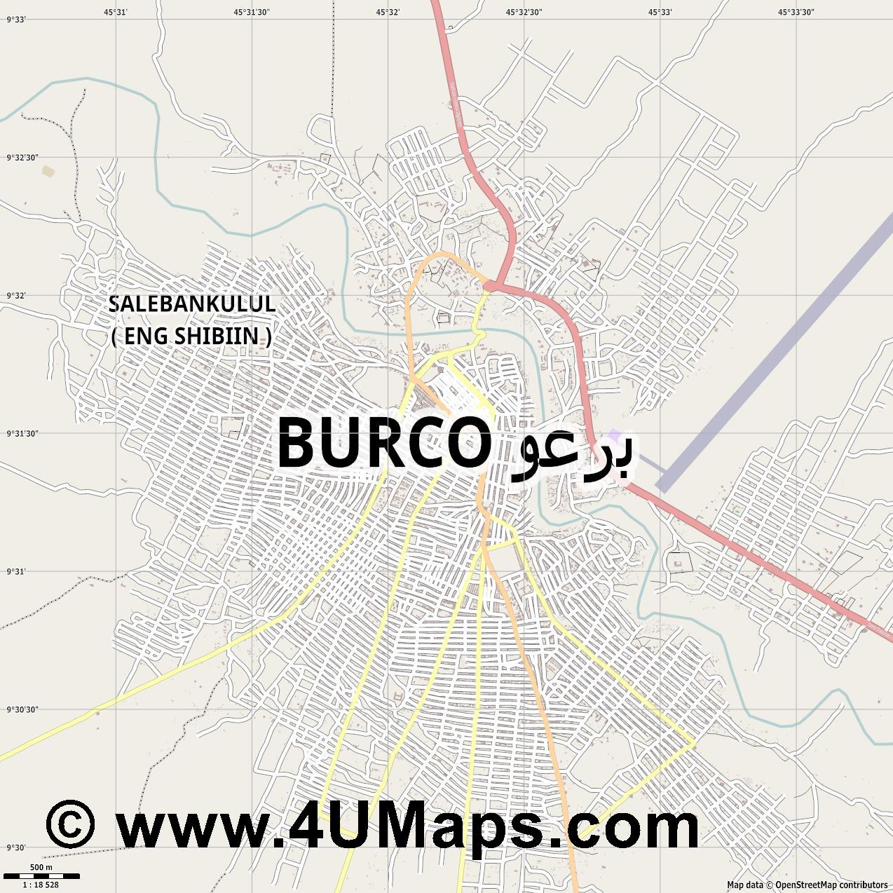 Burao  jpg ultra high detail preview vector city map