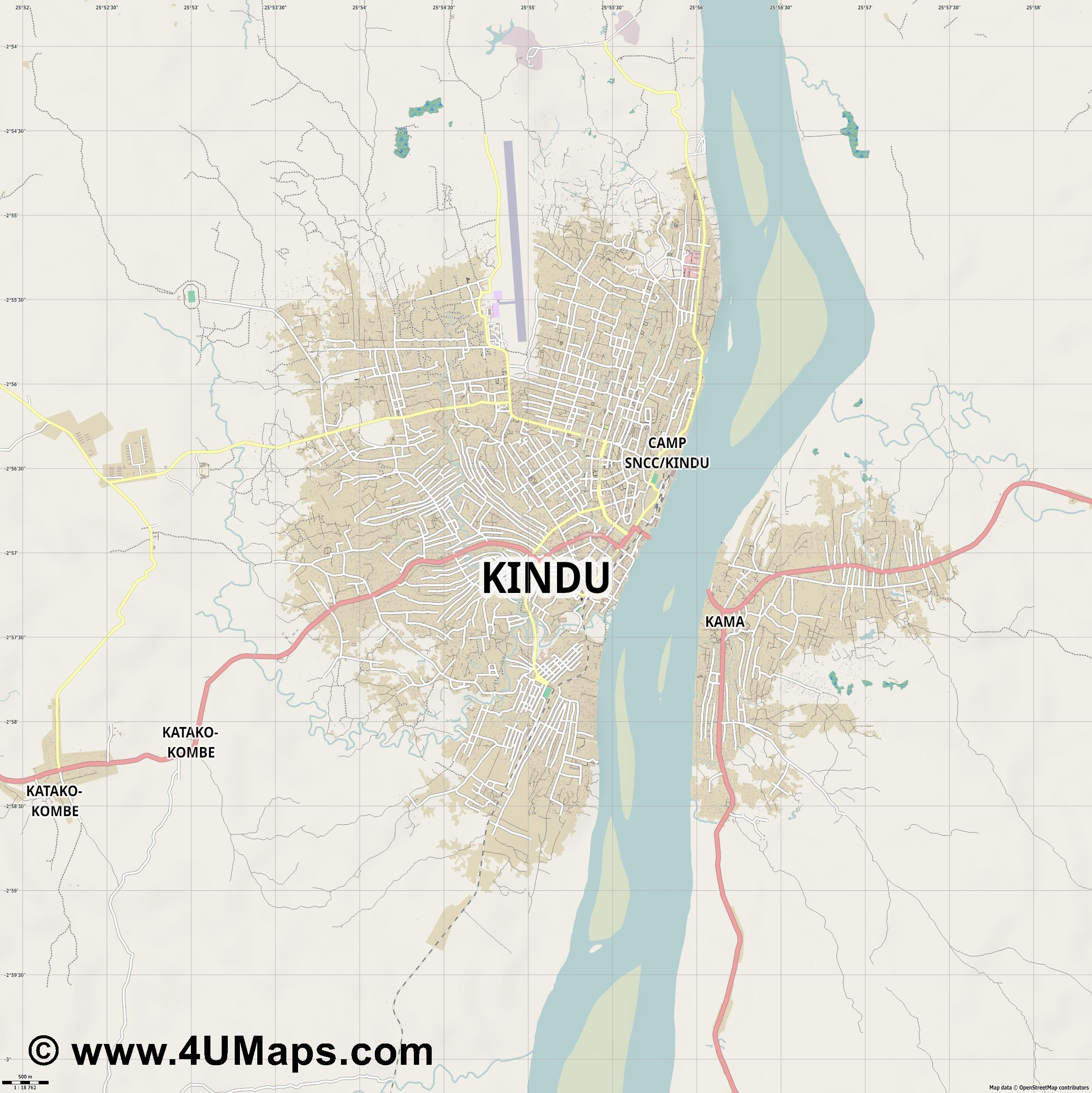 Kindu  jpg ultra high detail preview vector city map
