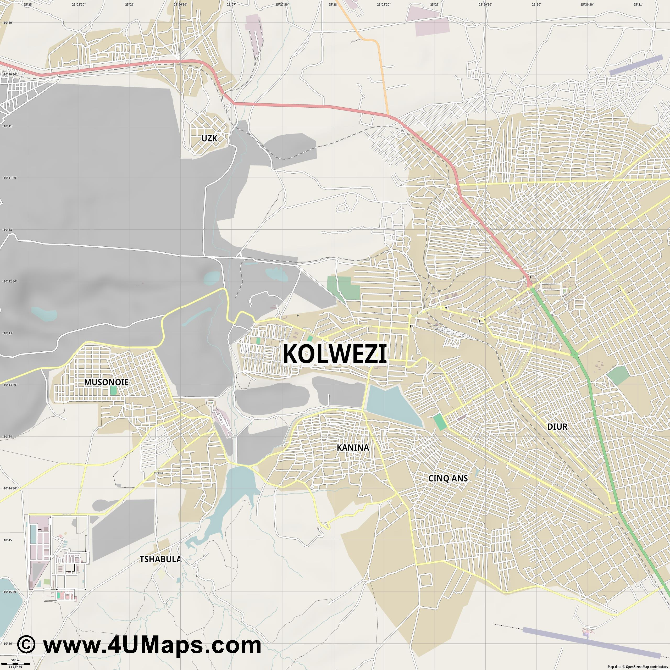 Kolwezi  jpg ultra high detail preview vector city map