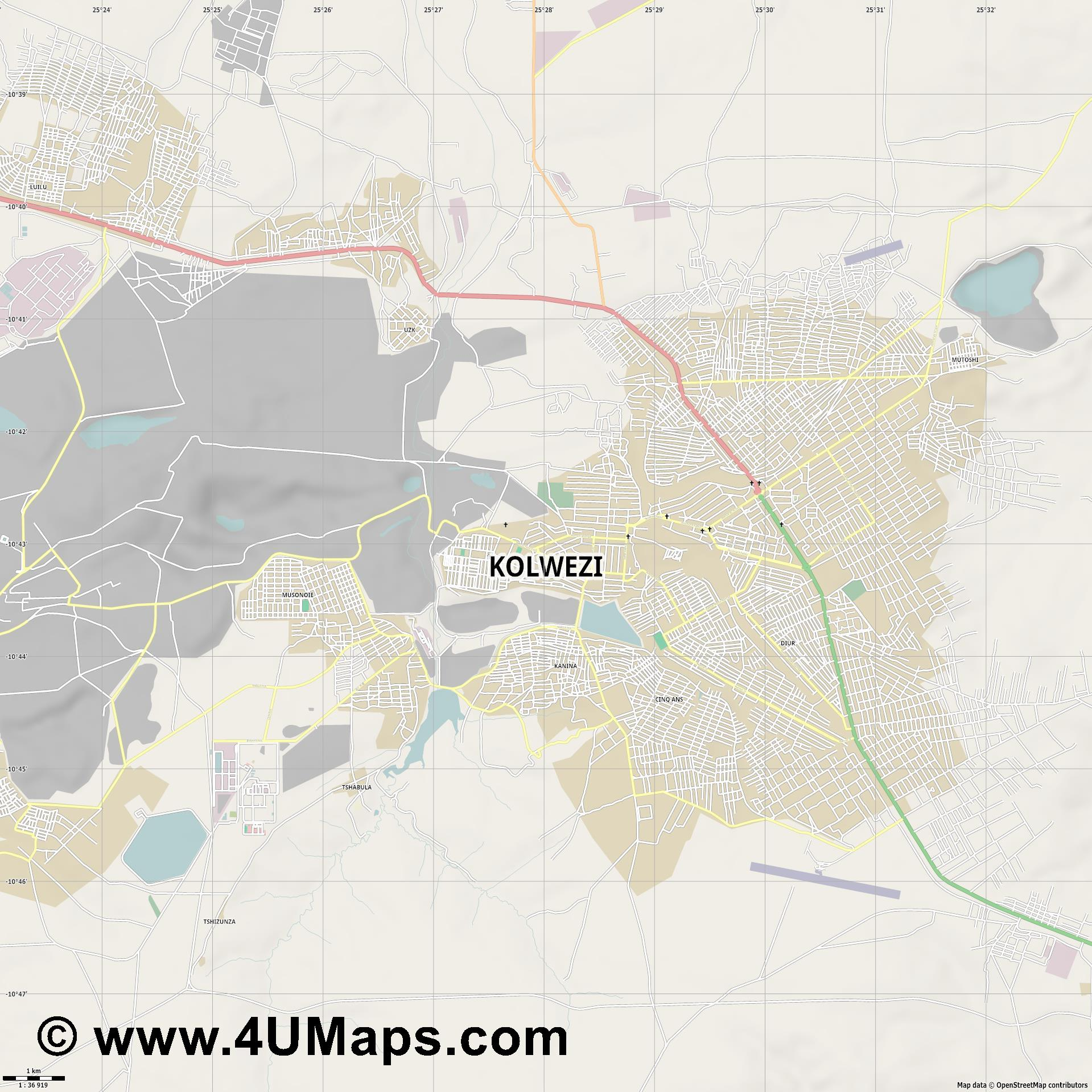 Kolwezi  jpg high detail, large area preview vector city map