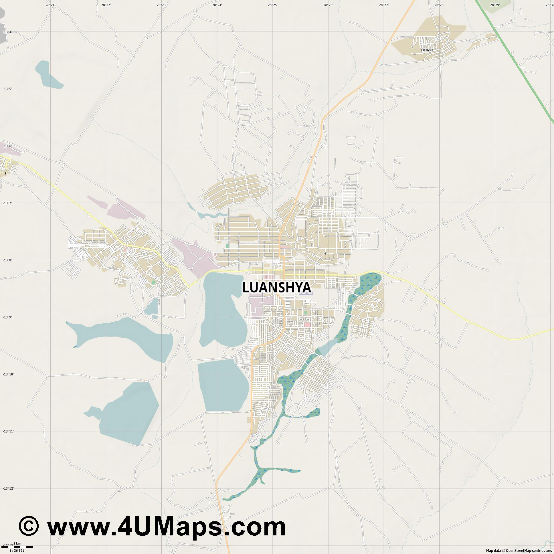 Luanshya  jpg high detail, large area preview vector city map