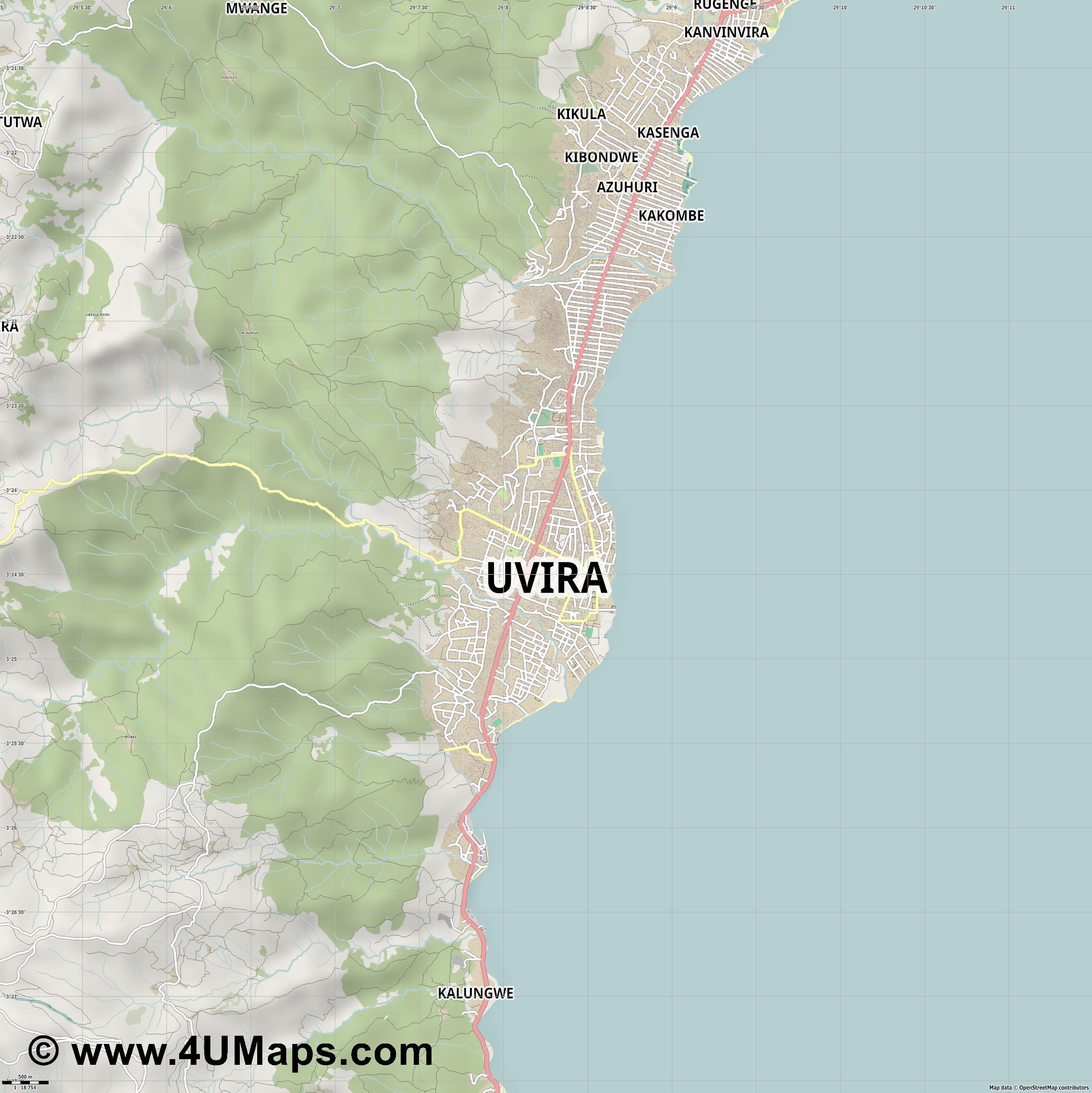 Uvira  jpg ultra high detail preview vector city map