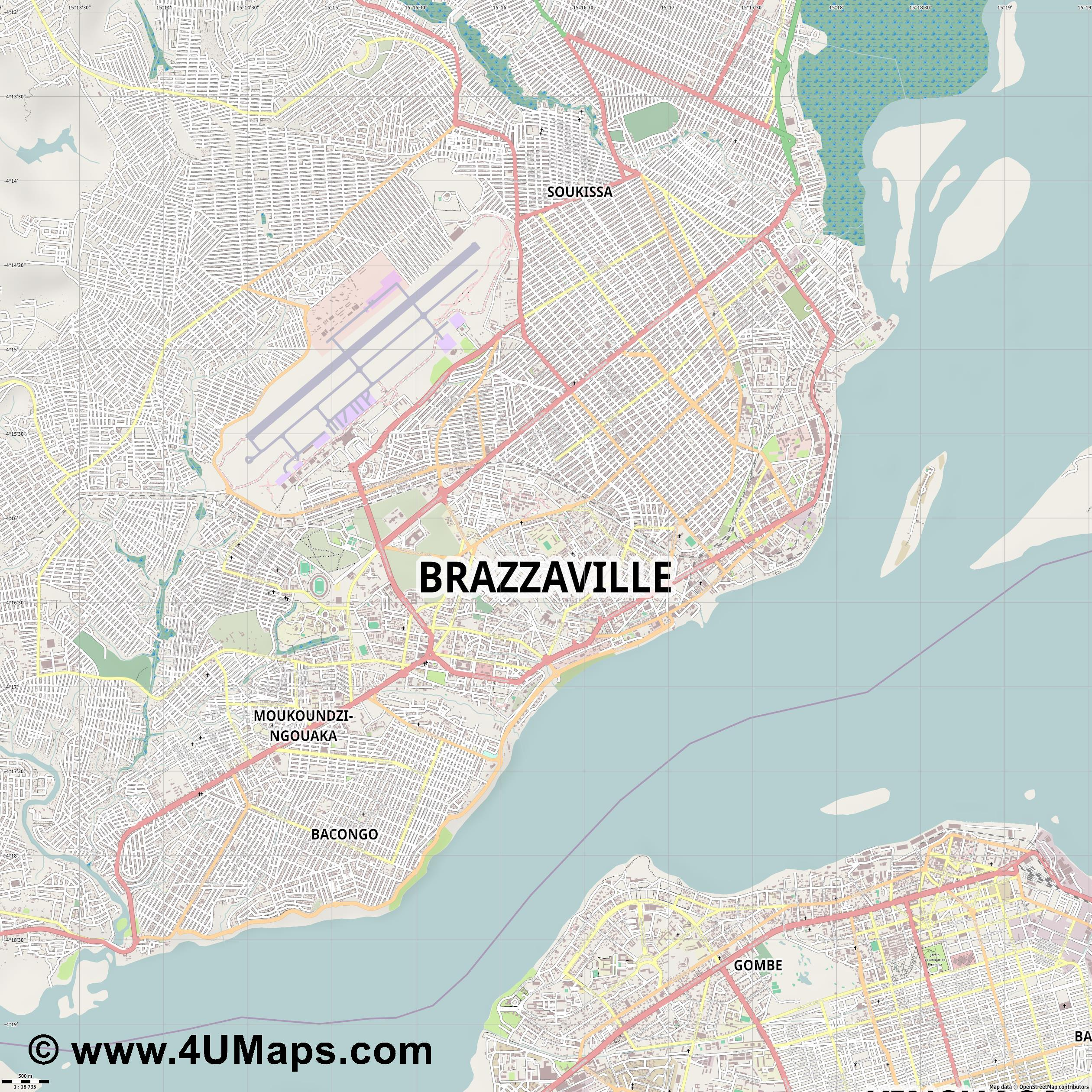 Brazzaville  jpg ultra high detail preview vector city map