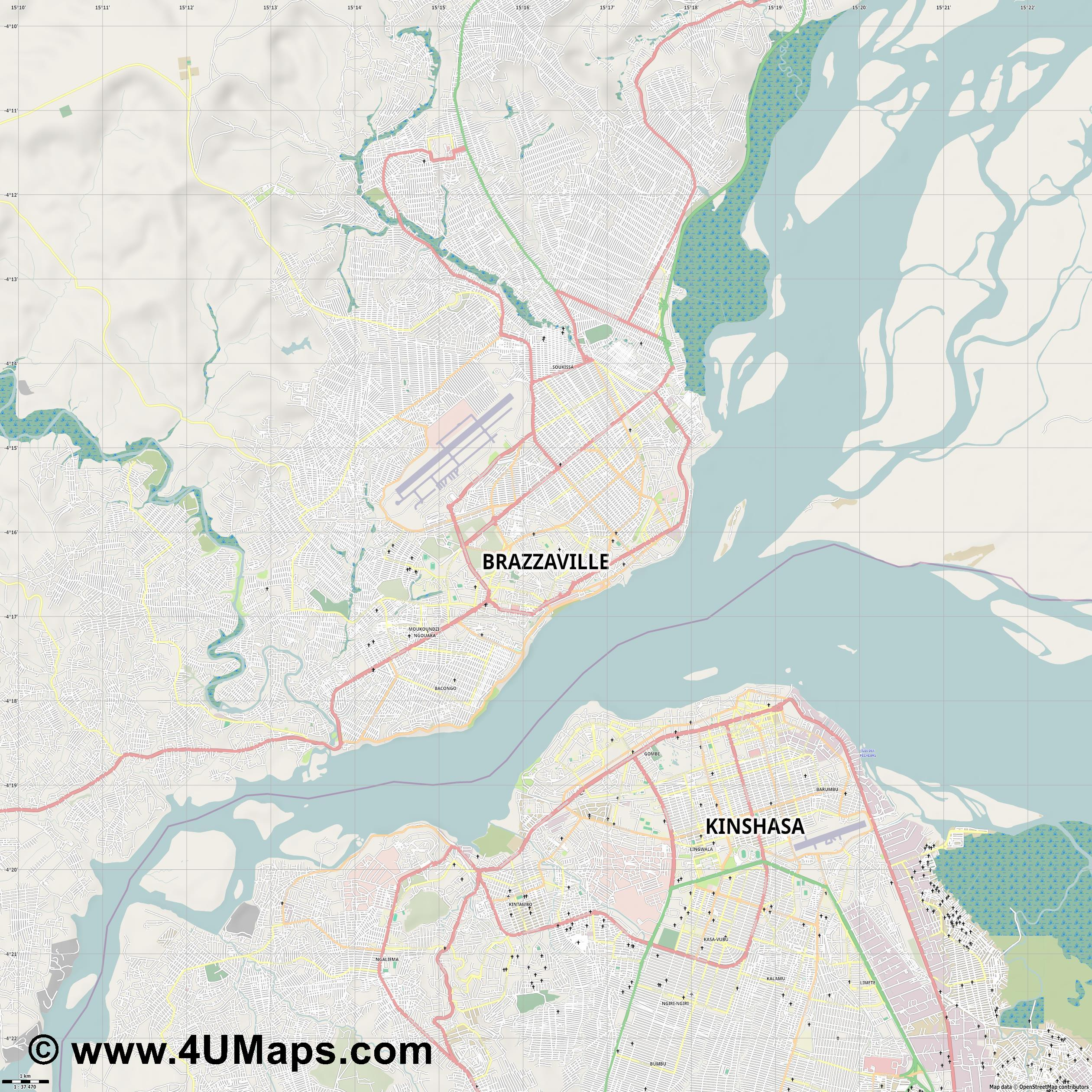 Brazzaville  jpg high detail, large area preview vector city map