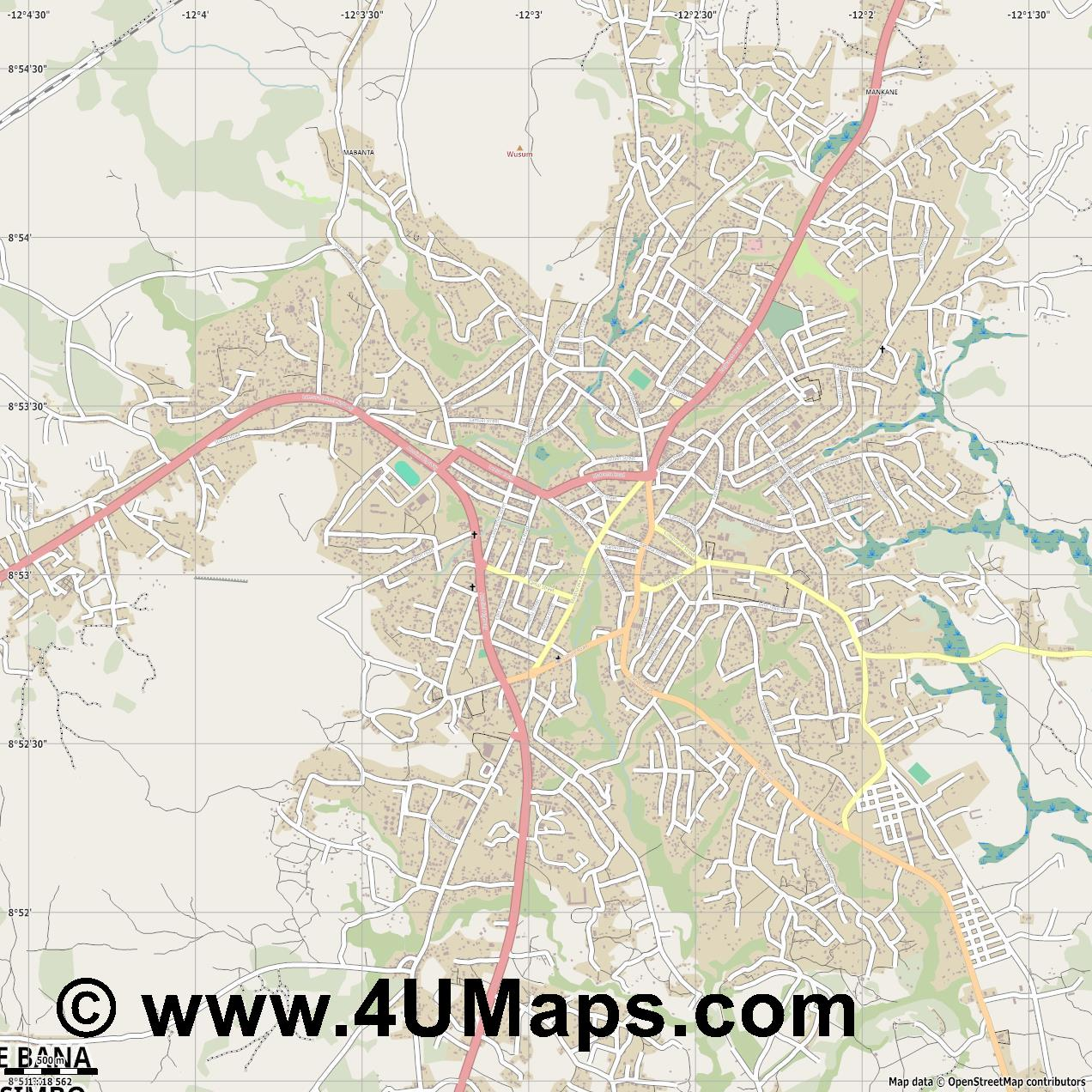 Makeni  jpg ultra high detail preview vector city map