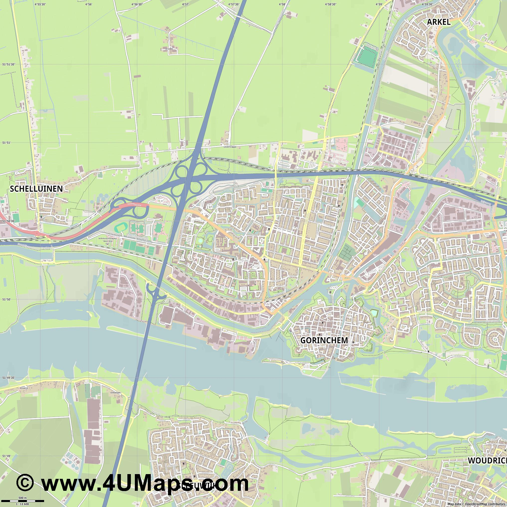 Gorinchem  jpg ultra high detail preview vector city map