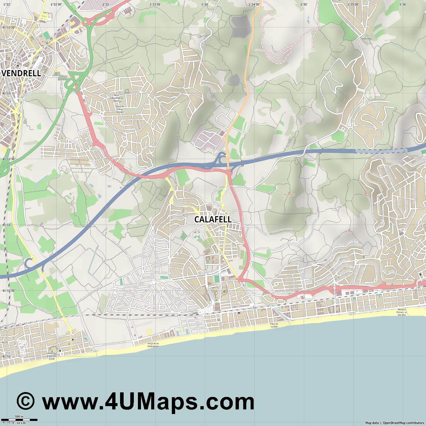 Calafell  jpg ultra high detail preview vector city map