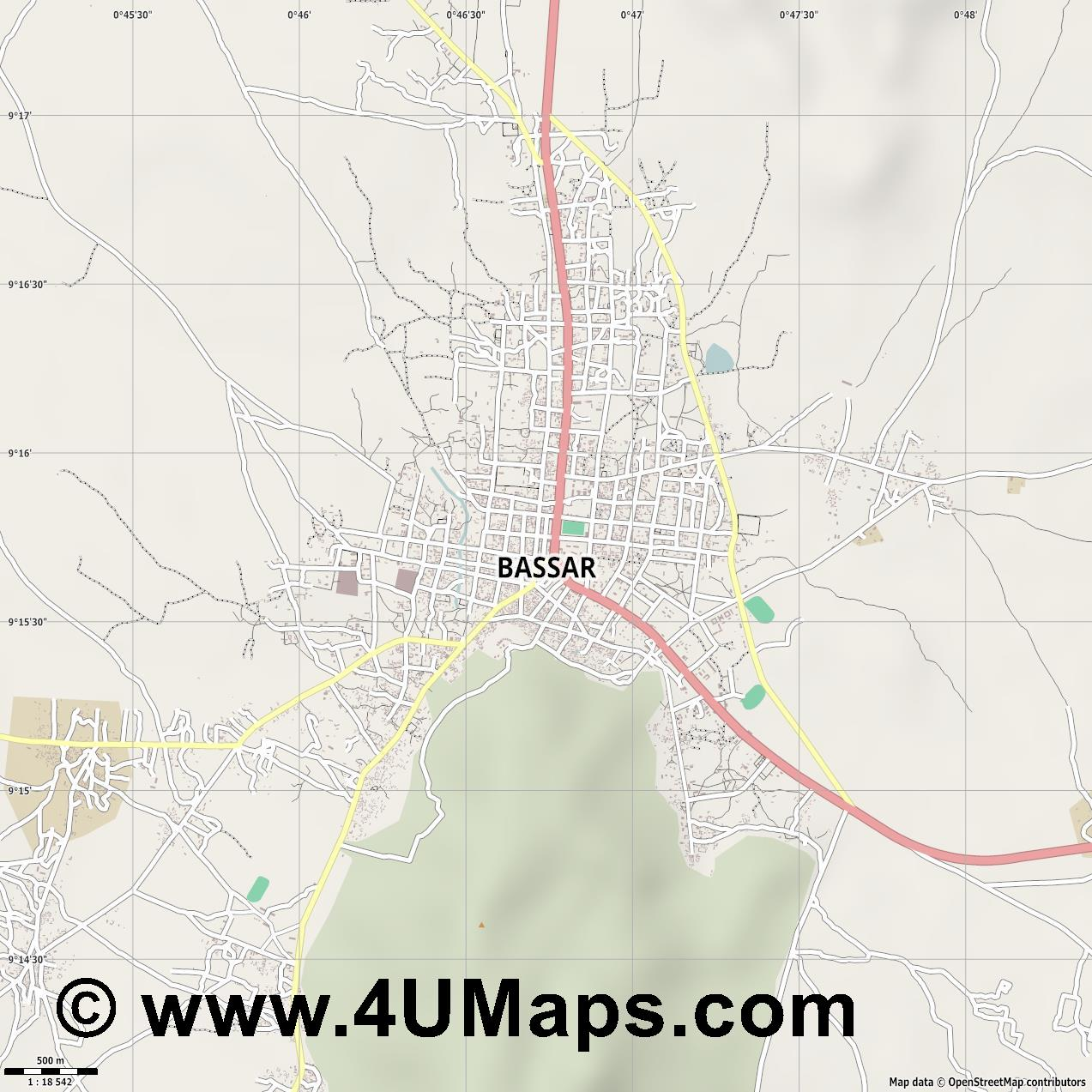 Bassar  jpg ultra high detail preview vector city map