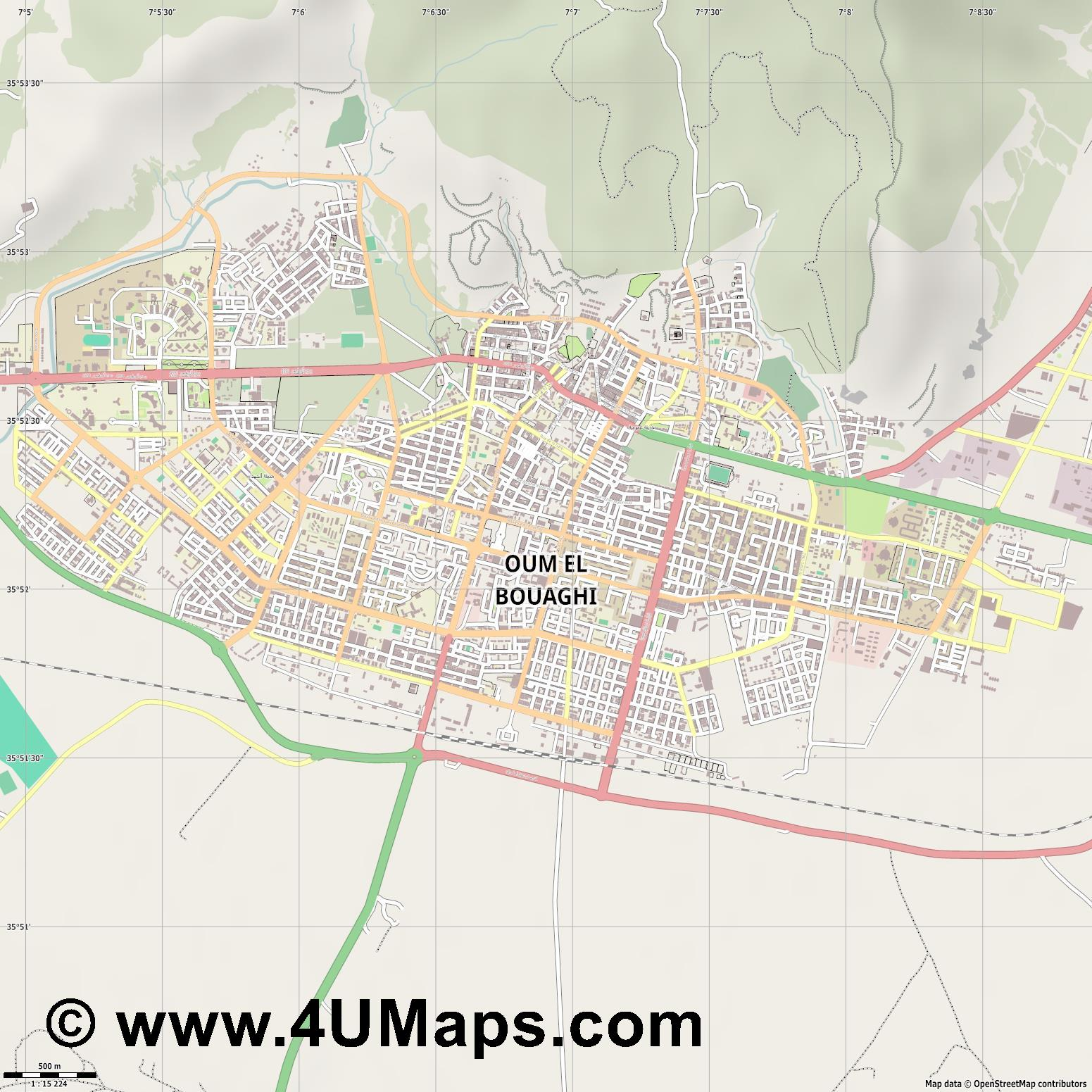 Oum El Bouaghi  jpg ultra high detail preview vector city map