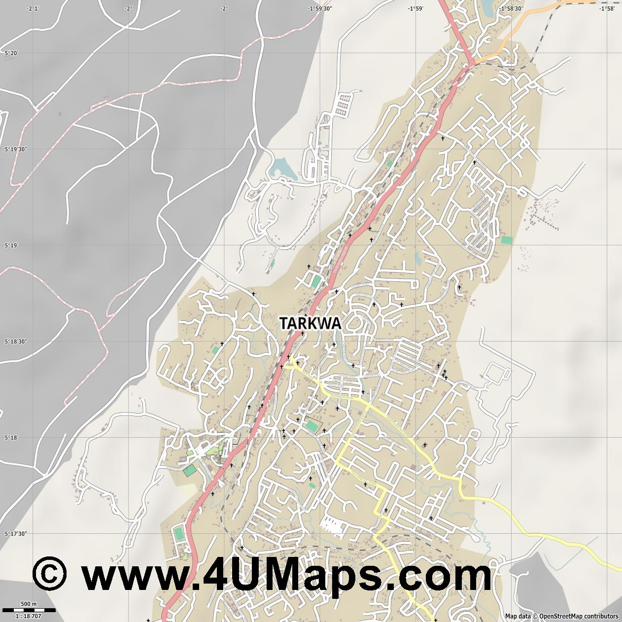Tarkwa  jpg ultra high detail preview vector city map