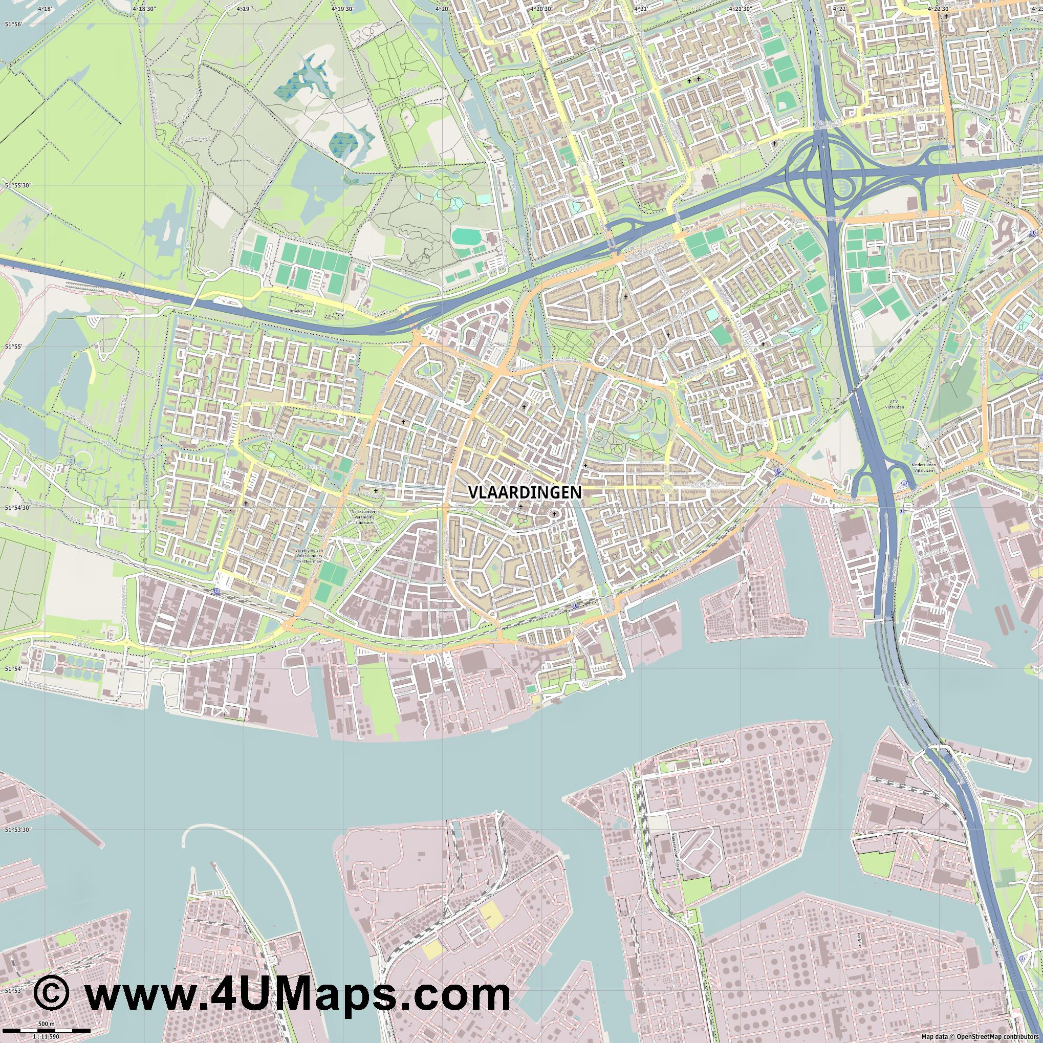 Vlaardingen  jpg ultra high detail preview vector city map