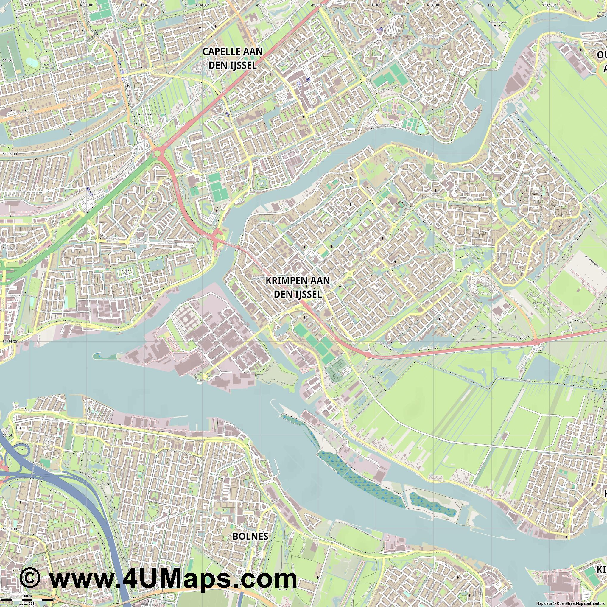 Krimpen aan den IJssel  jpg ultra high detail preview vector city map