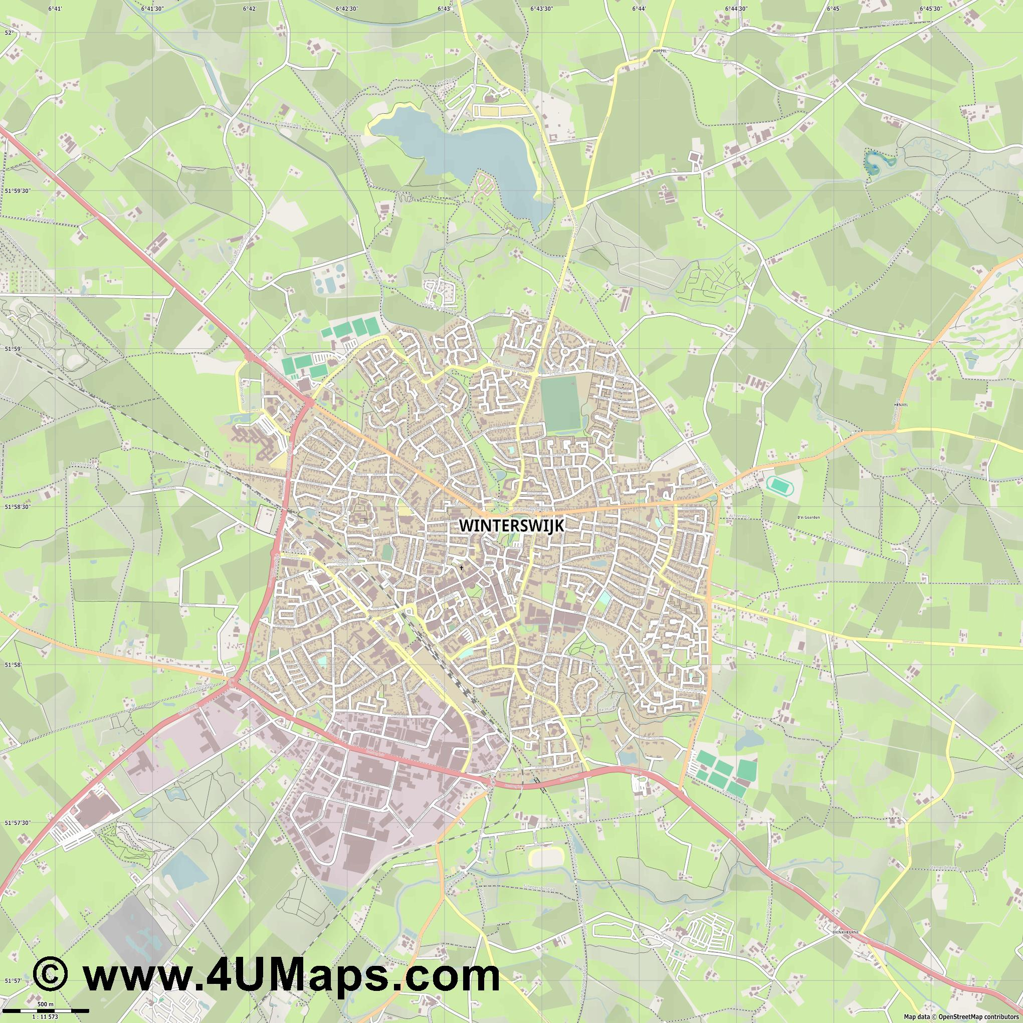 Winterswijk  jpg ultra high detail preview vector city map