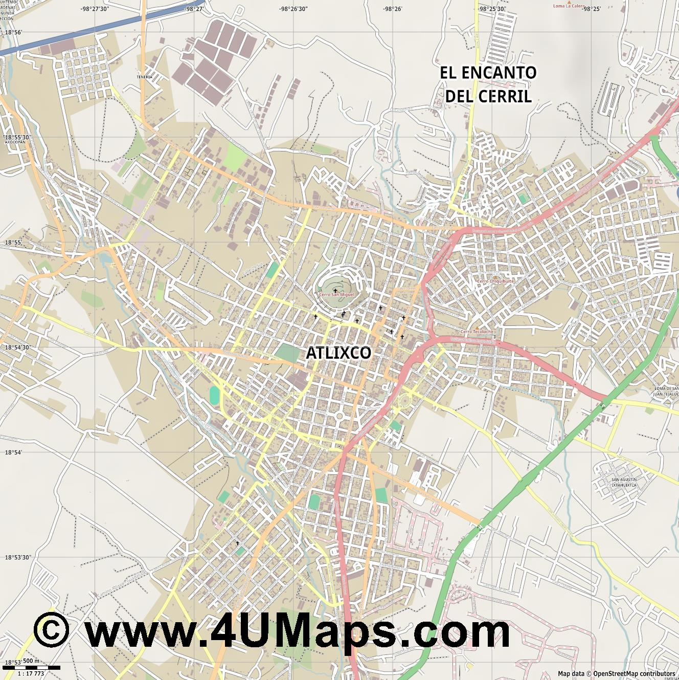 Atlixco  jpg ultra high detail preview vector city map